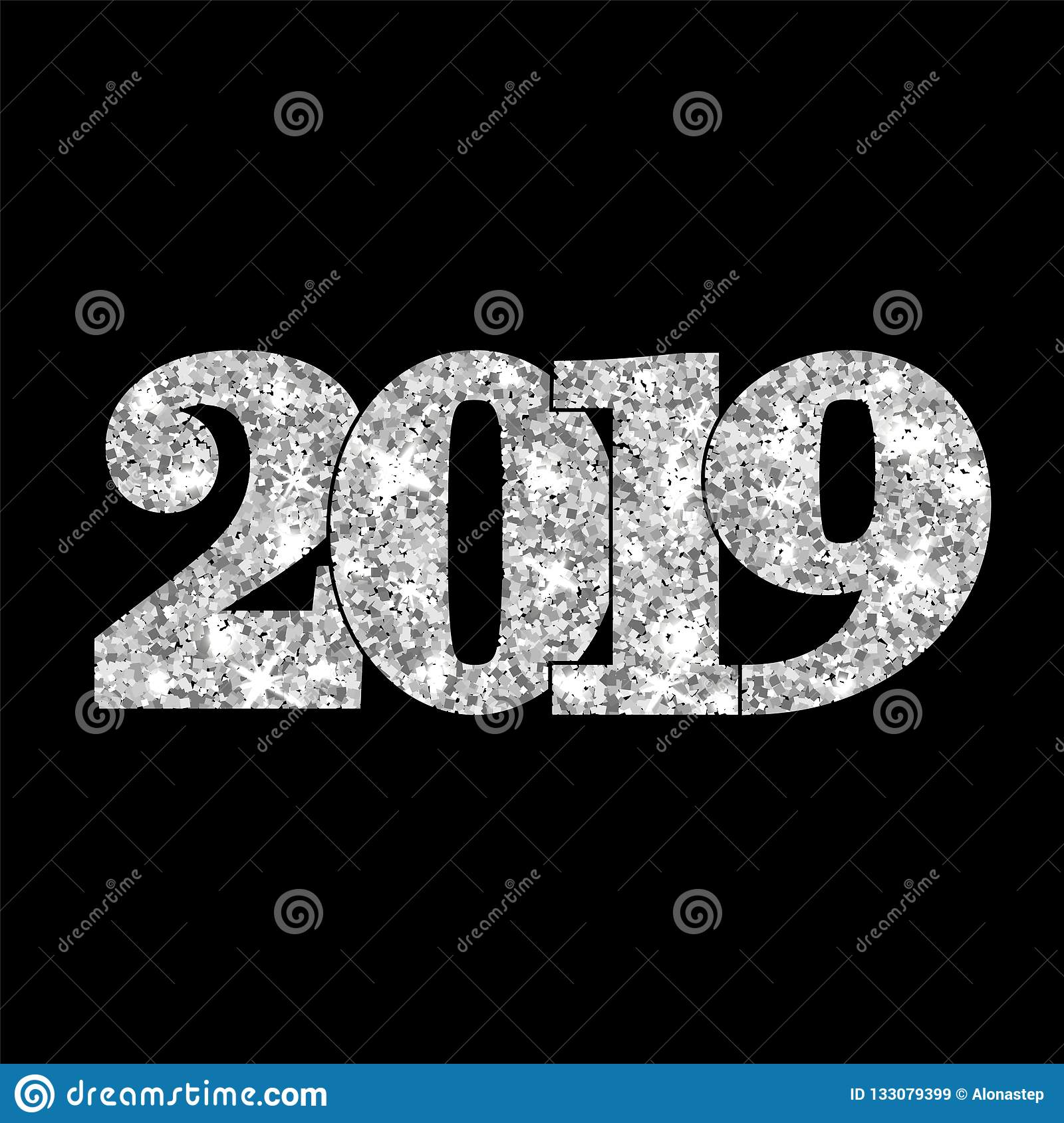 Happy New Year silver number 2019. Silvery glitter digits isolated on black background. Shiny glowing design. Light