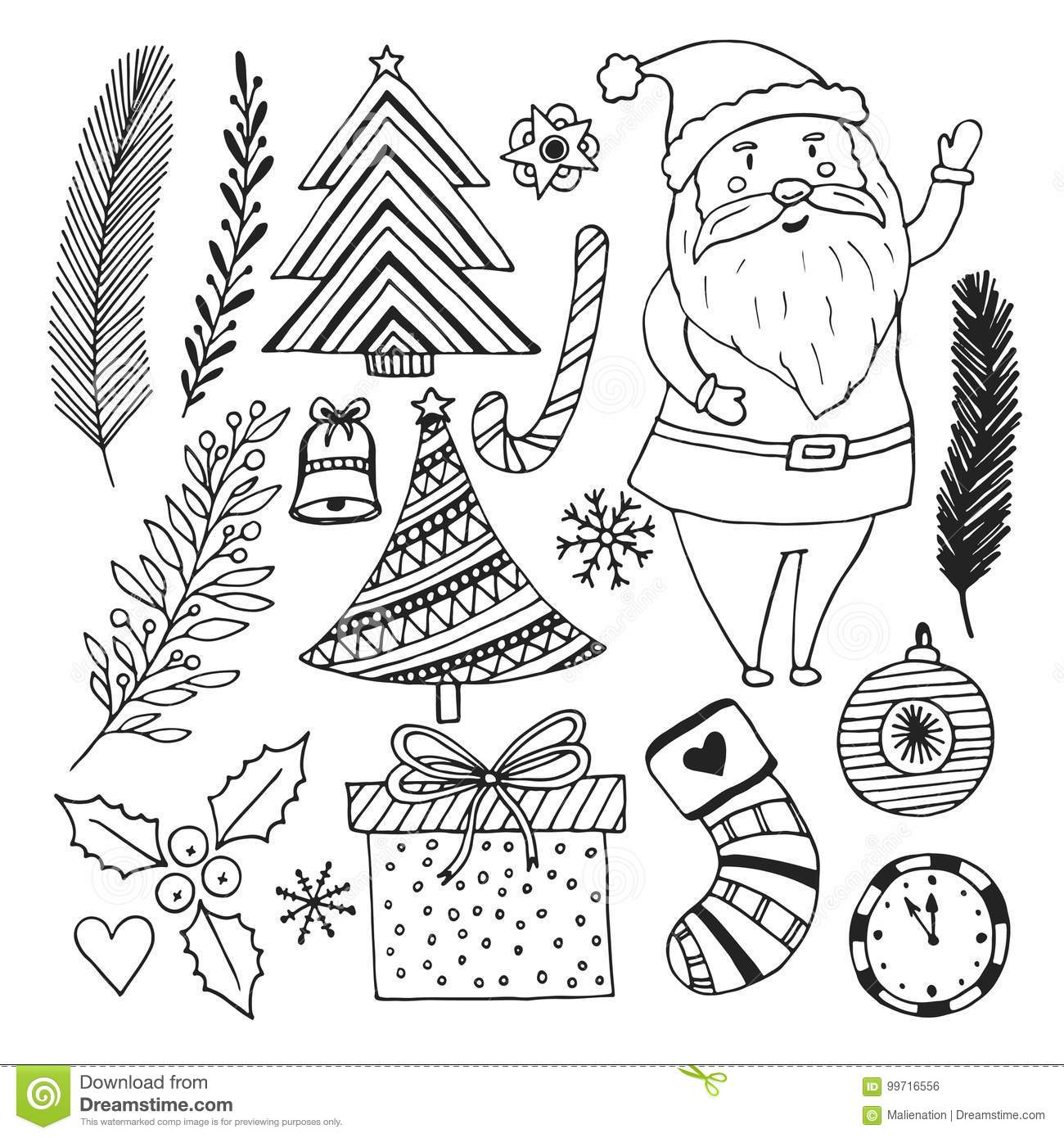 happy new year sketch doodle set christmas coloring book page