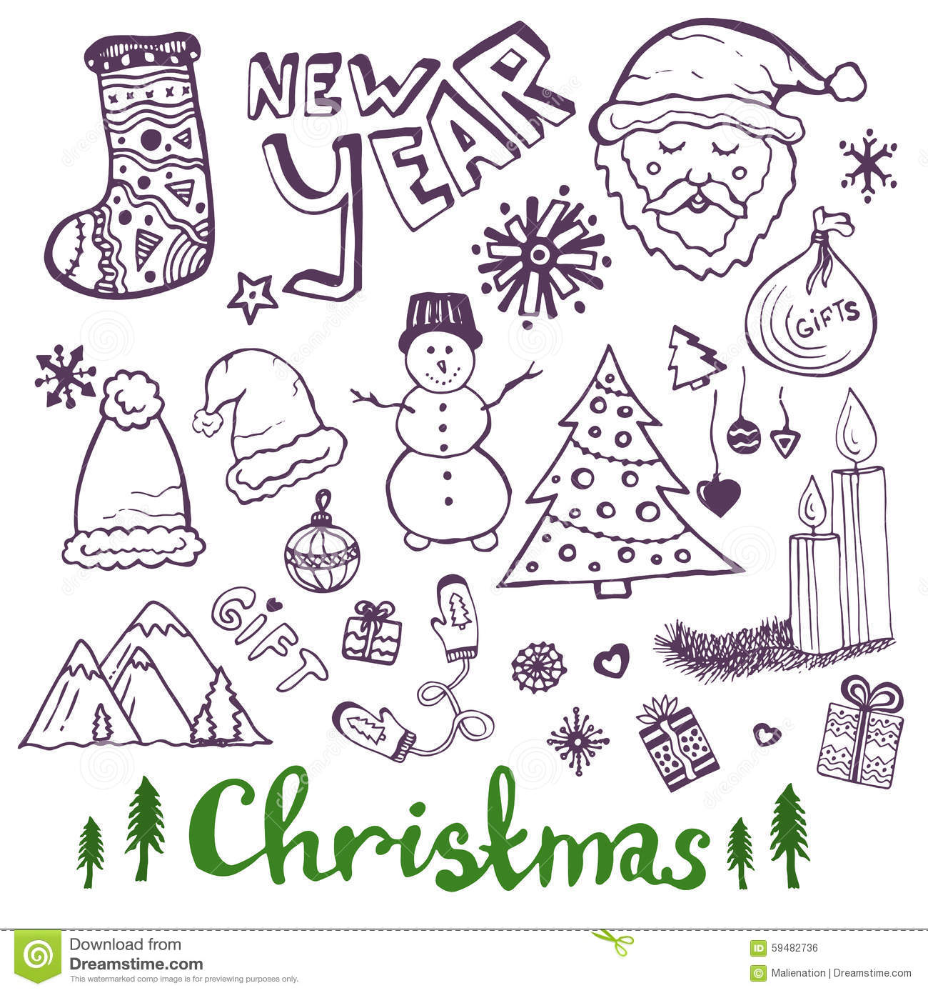 Happy New Year Sketch Doodle Set. Christmas Stock Vector ...