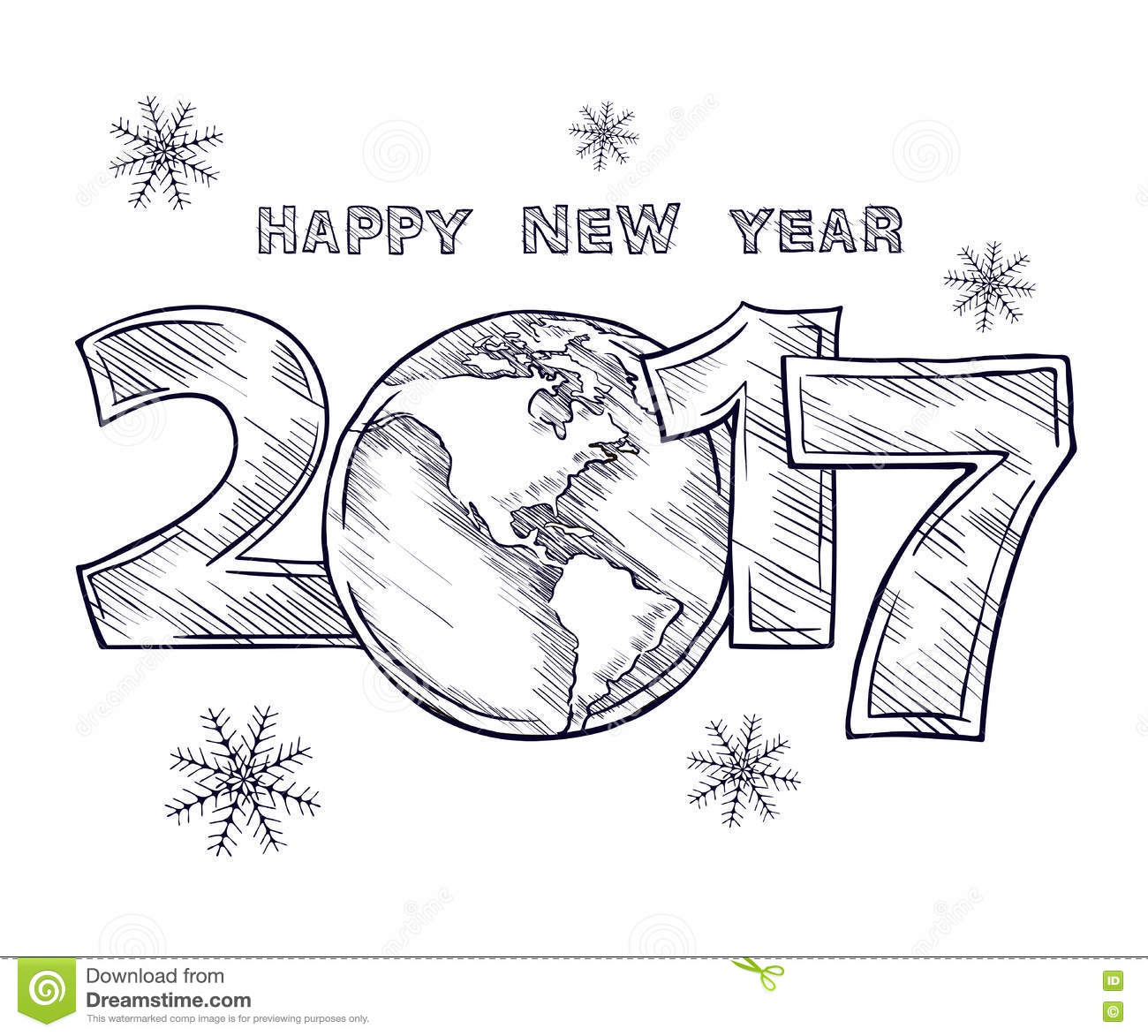 Calendar Design Drawing : Happy new year sketch globe outline drawing stock