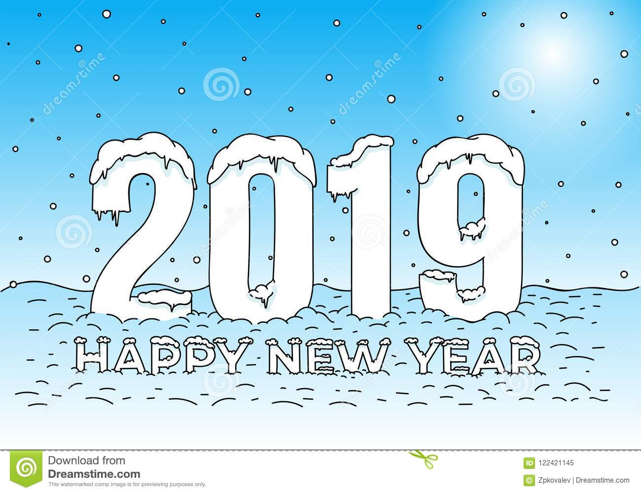 Happy New Year. Snow Caps On Numbers And Letters. Coloring 2019 Text ...