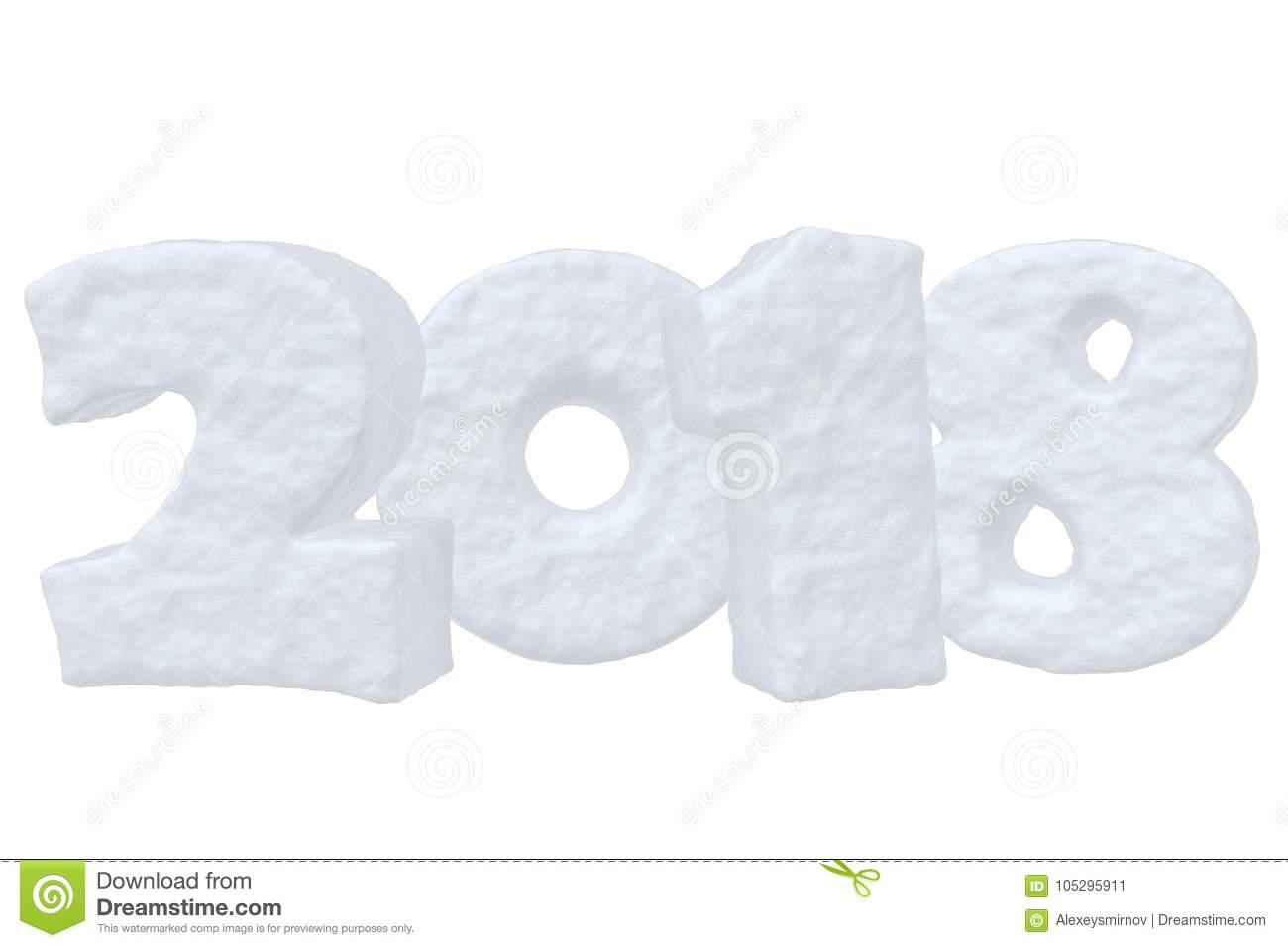 Happy New Year 2018 Snow Text Stock Illustration Illustration Of