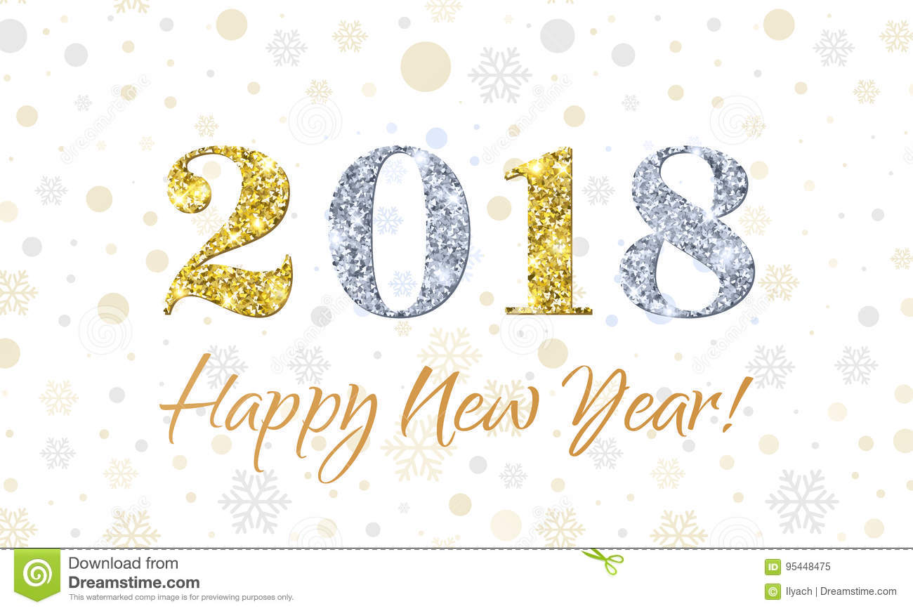 2018 happy new year on snowflakes vector background gold and silver glitter texture