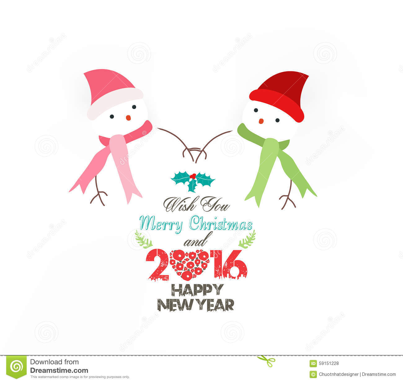 Happy new year snowman wearing scarf christmas stock