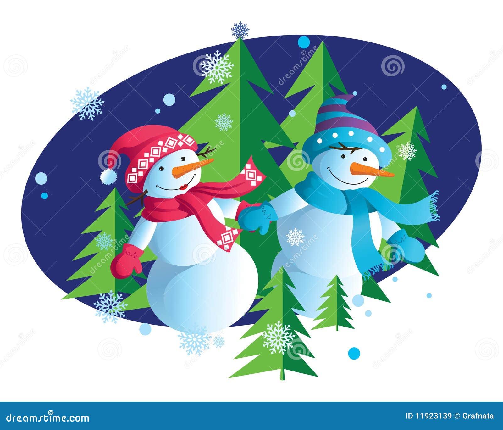 Happy new year with snowmen