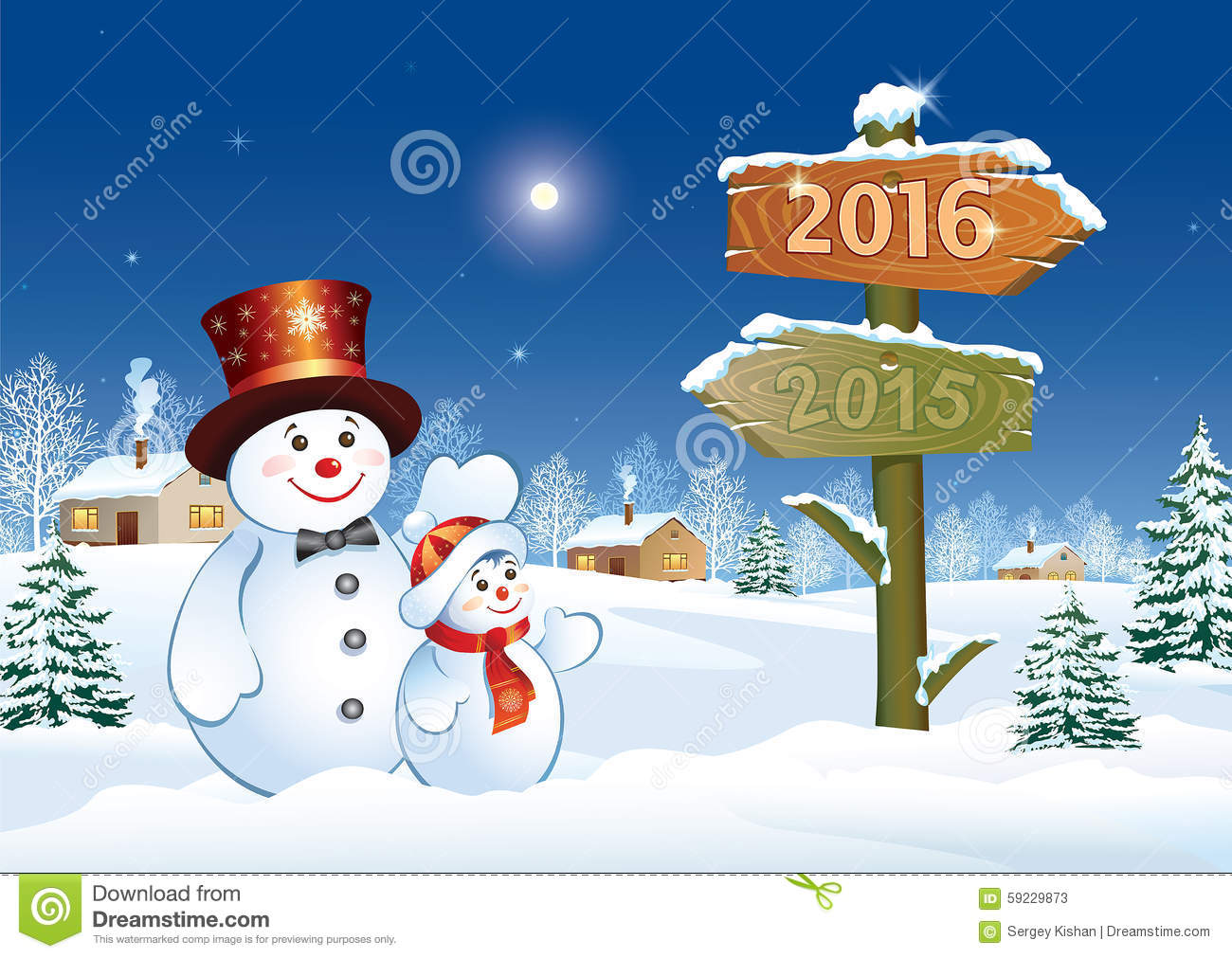 Happy New Year 2016 With Snowmen Stock Vector - Image: 59229873