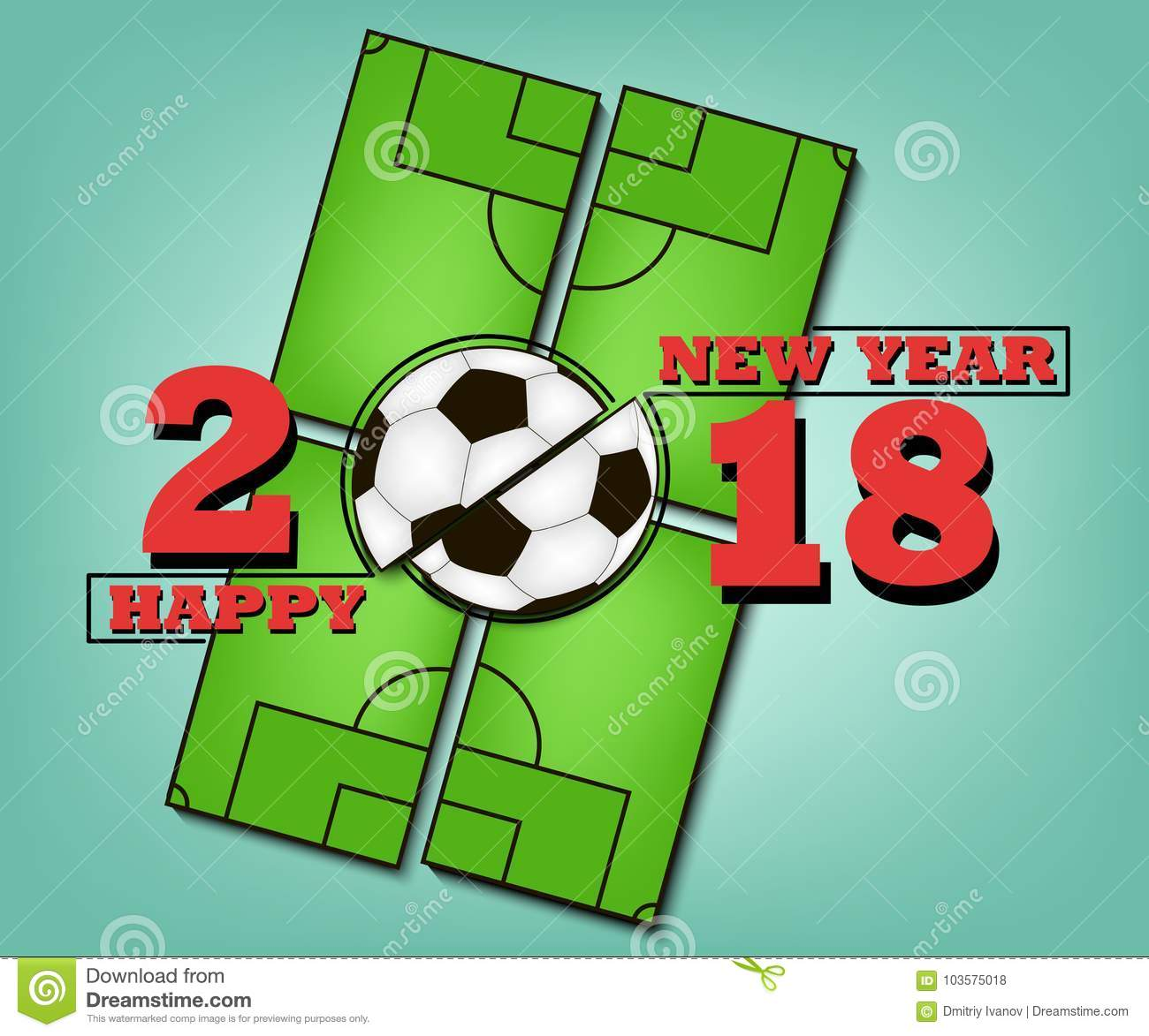 Happy New Year And Soccer Ball Stock Vector Illustration Of