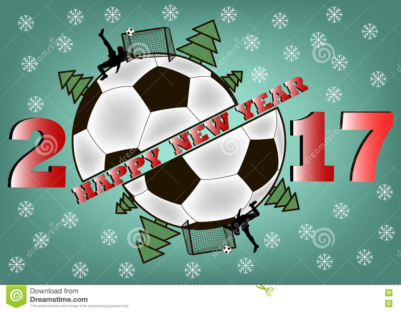 Happy New Year And Soccer Ball Stock Vector Illustration Of Number