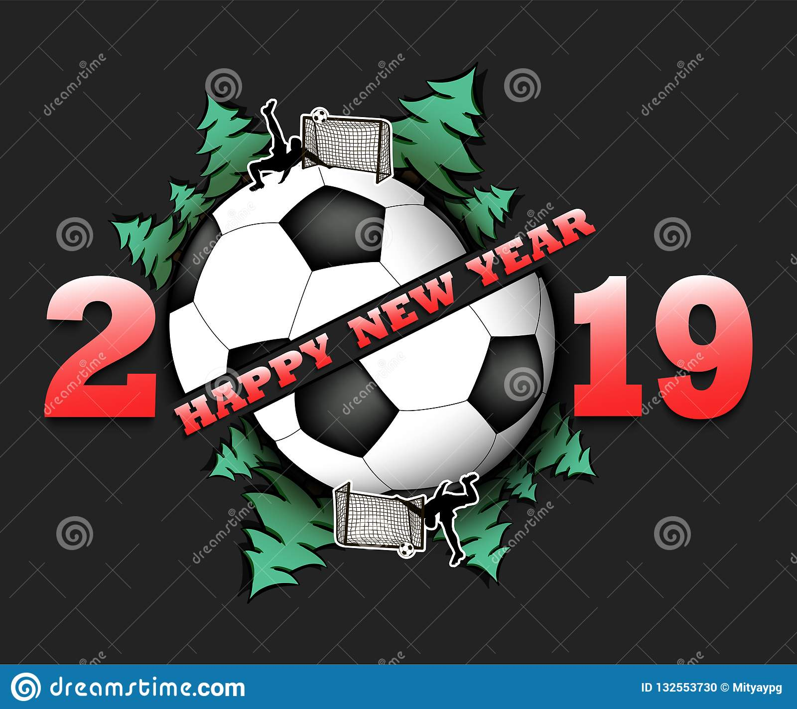 Happy New Year 2019 And Soccer Ball Stock Vector Illustration Of