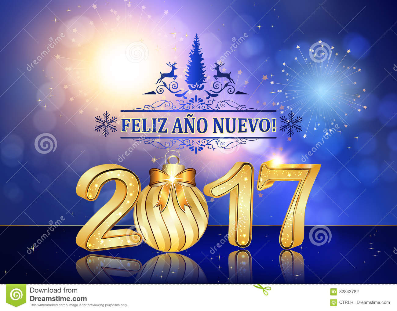 Happy New Year 2017 Spanish Language Stock Illustration