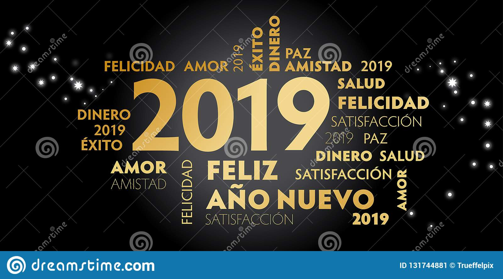 happy new year spanish language greeting card with spanish slogan