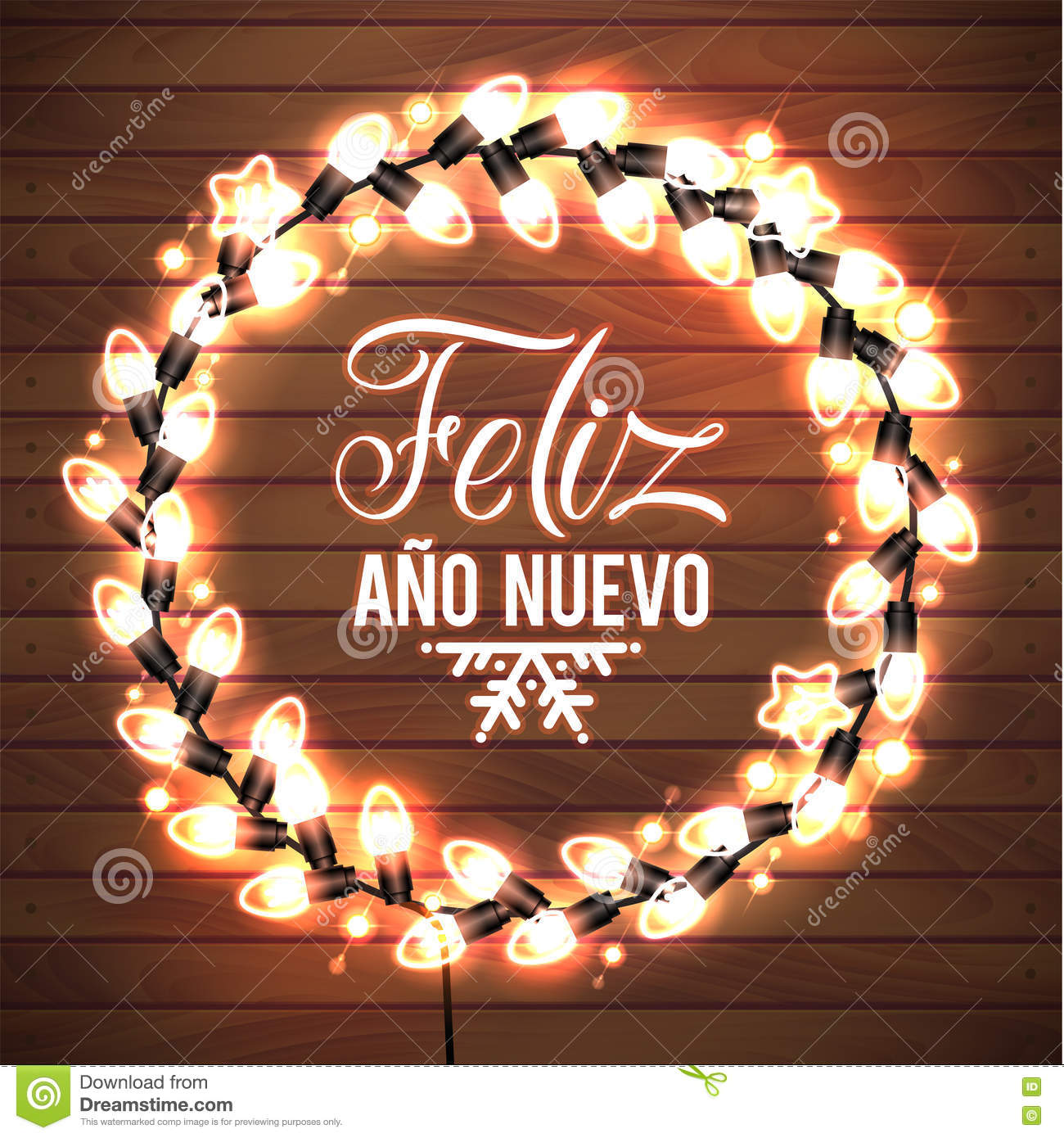 happy new year spanish language poster glowing christmas lights wreath for xmas holiday greeting card