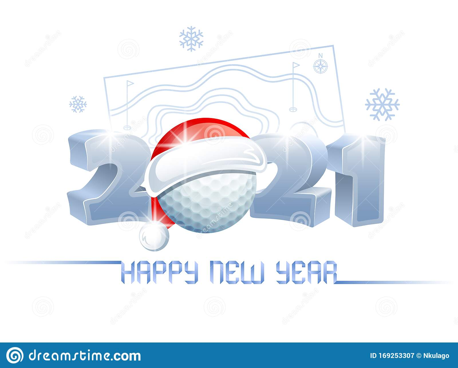 2021. Happy New Year! Sports Greeting Card With A Golf ...
