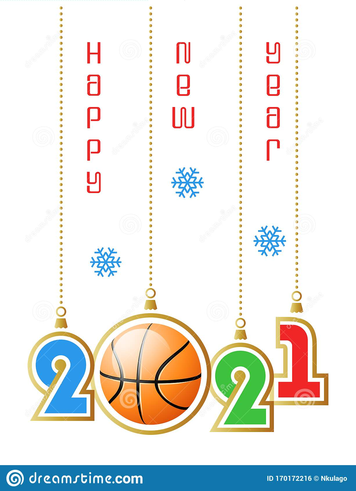 Happy New Year 2021. Sports Greeting Card With Realistic ...