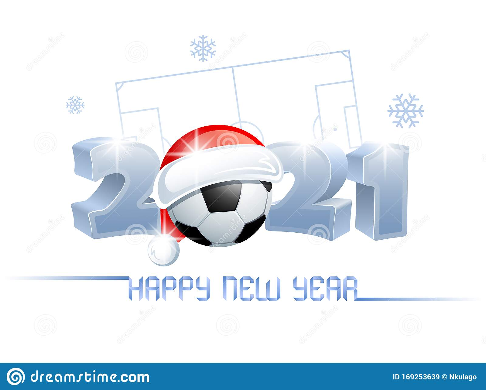 2021. Happy New Year! Sports Greeting Card With A Soccer ...