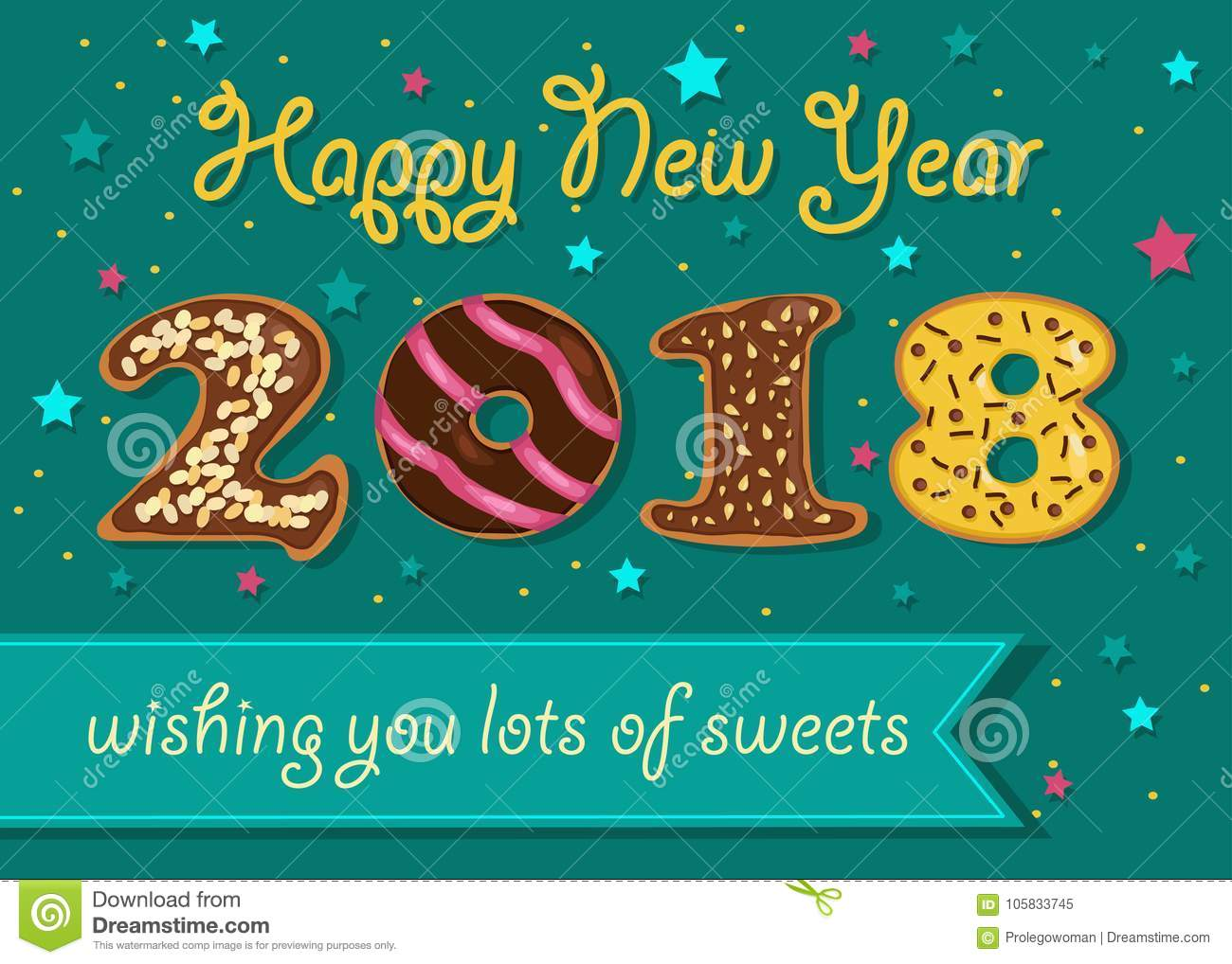 happy new year 2018 sweet donuts numerals