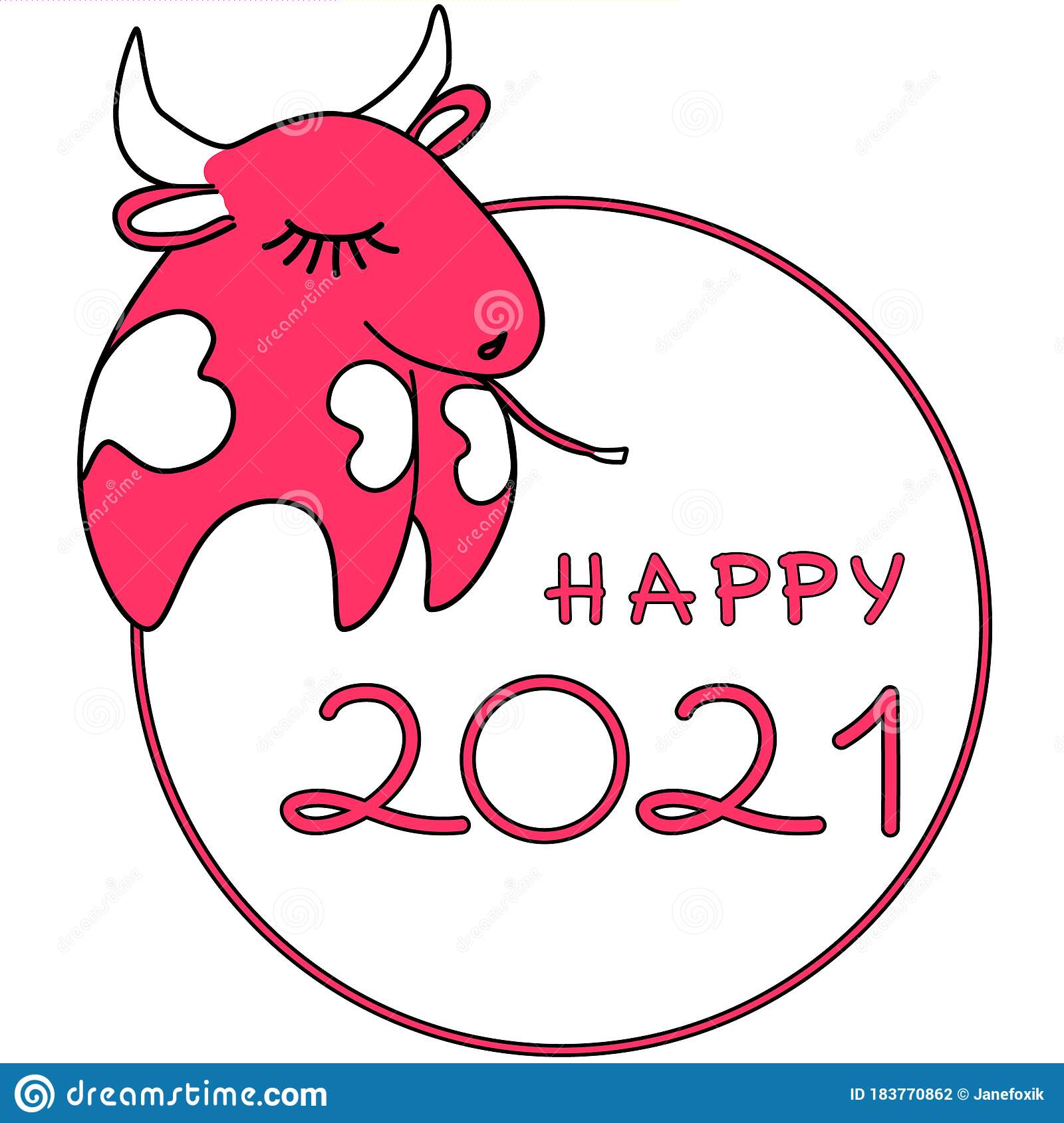 Happy 2021 New Year With Symbol Ox Or Cow. Cute Happy 2021 ...