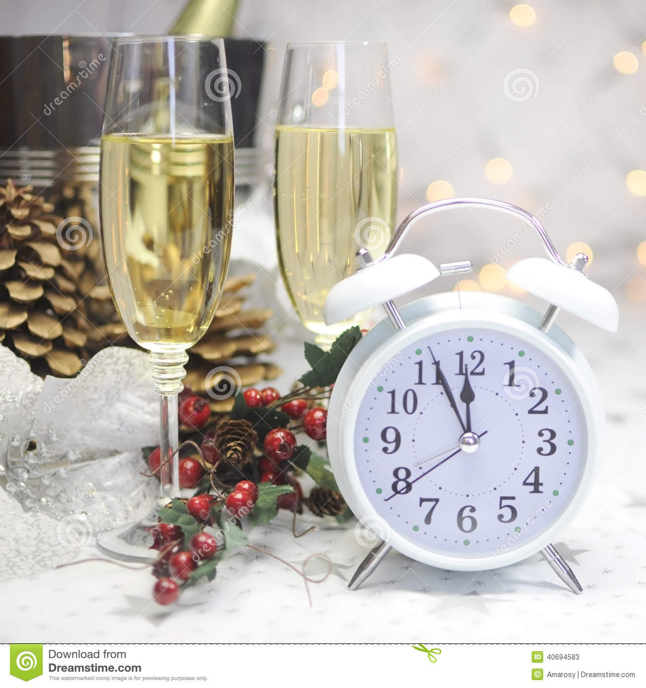 Happy New Year table setting with white retro clock showing five to ...