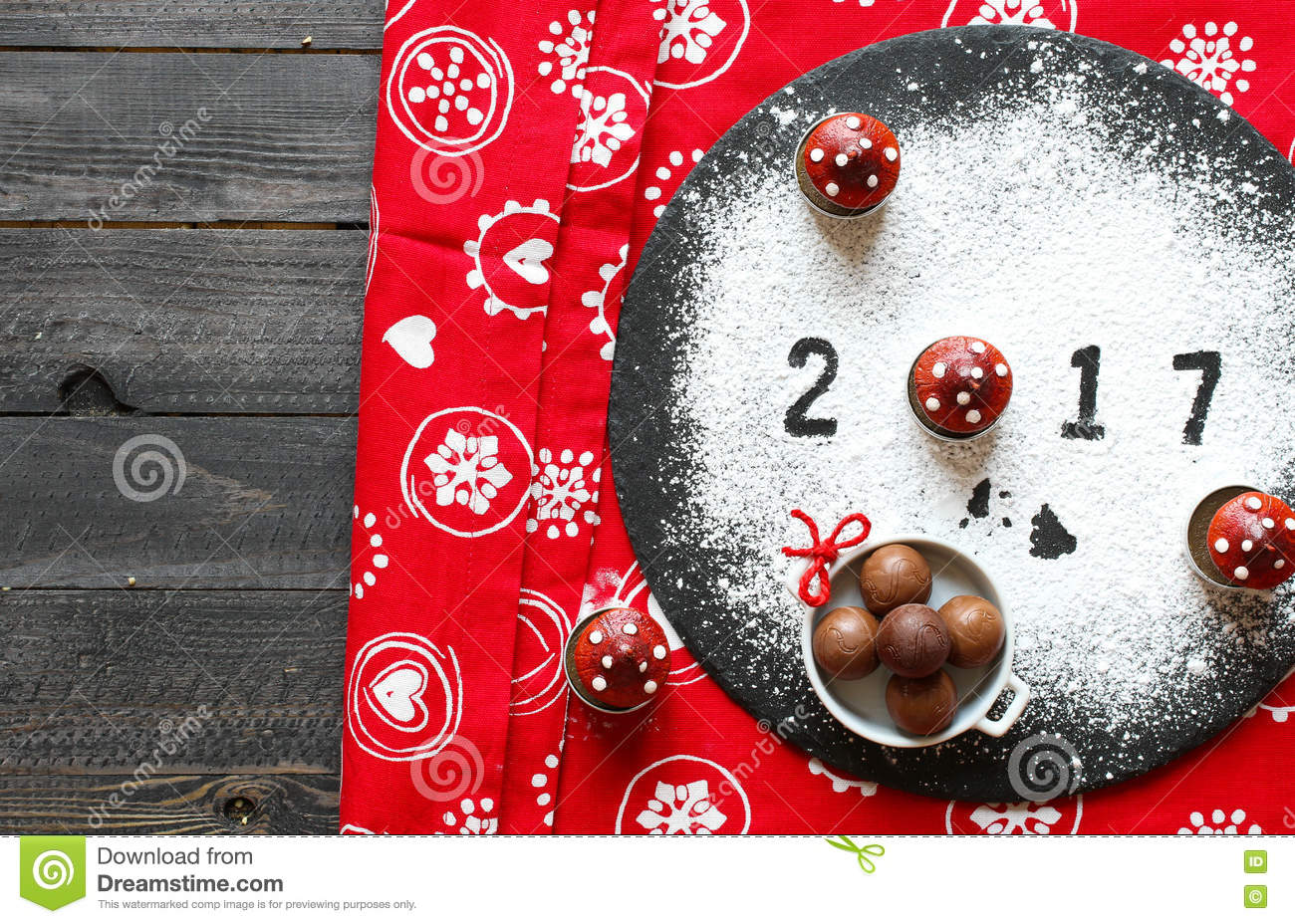2017 Happy New Year Table With Sugar And Chocolate Stock ...
