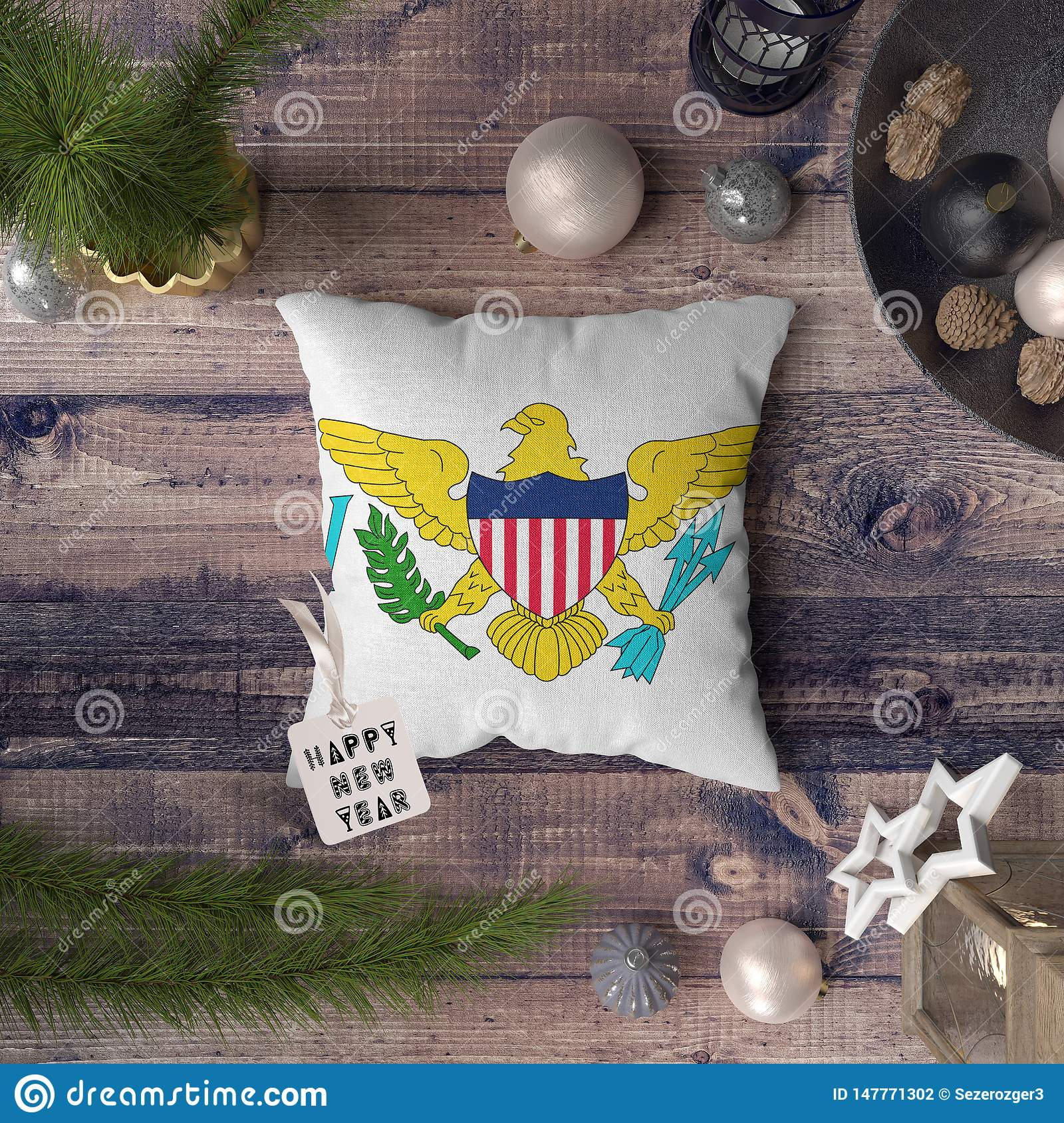 Happy New Year Tag With Virgin Islands United States Flag