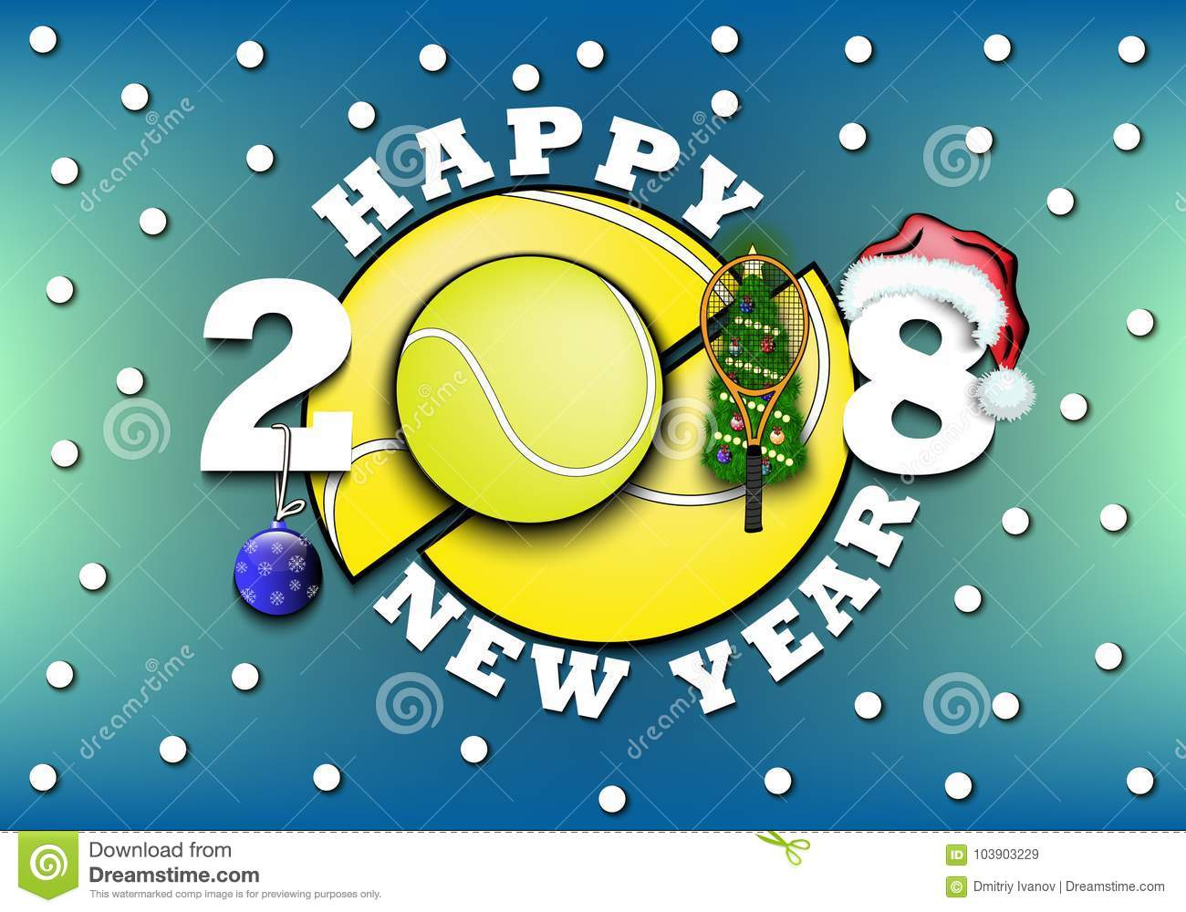 happy new year 2018 and tennis ball