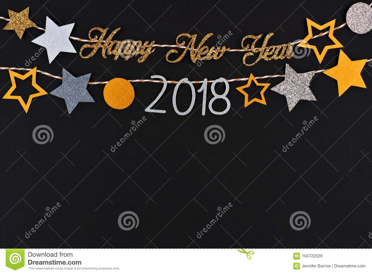 Happy New Year 2018 text banner with strings of stars against black