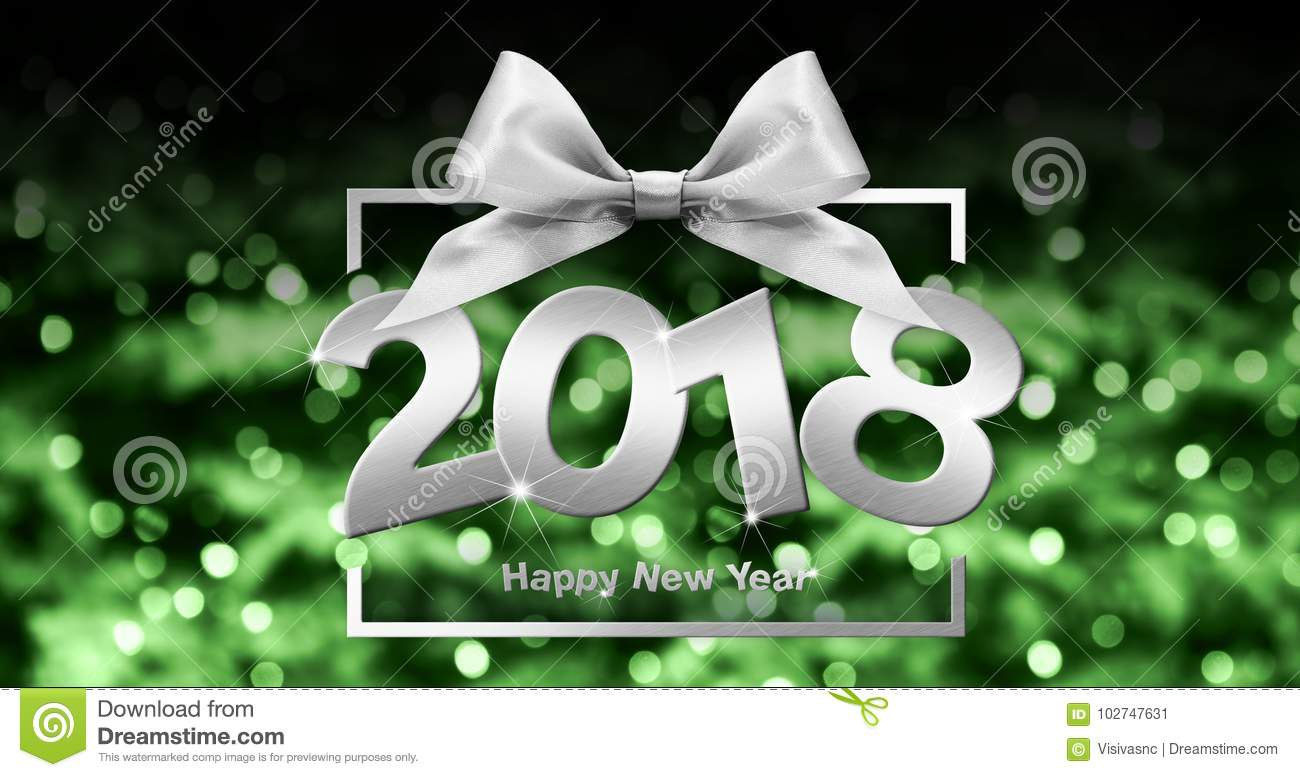 Download Happy New Year Text In Box Frame With Silver Ribbon Bow On Green Stock Illustration - Illustration of illustration, bright: 102747631