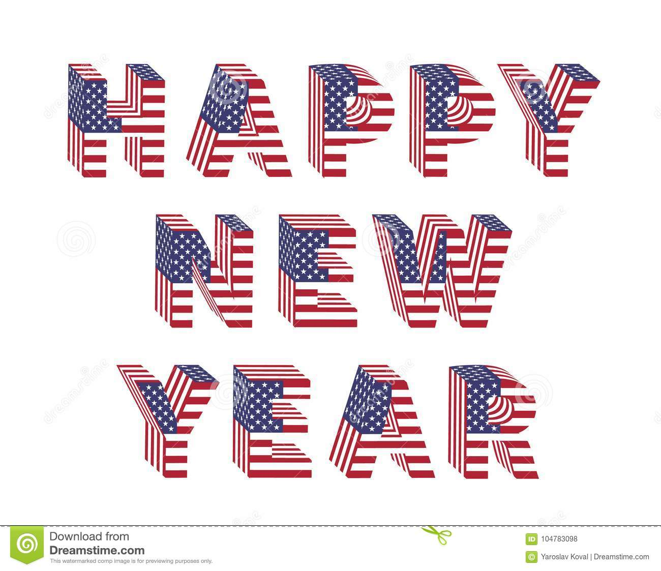 happy new year text 3d letter american flag folded