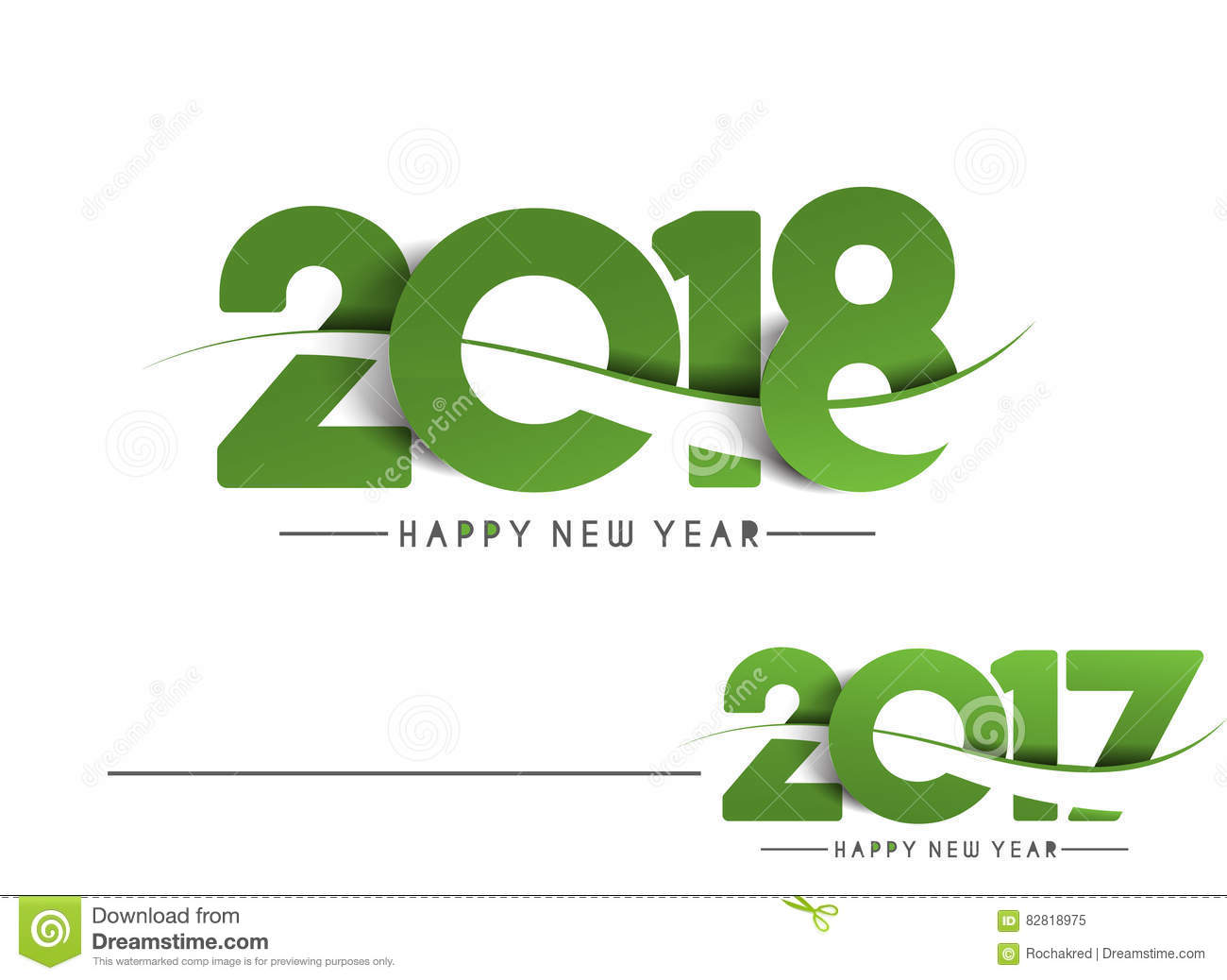 Happy New Year 2018   2017 Text Design. Royalty Free Vector