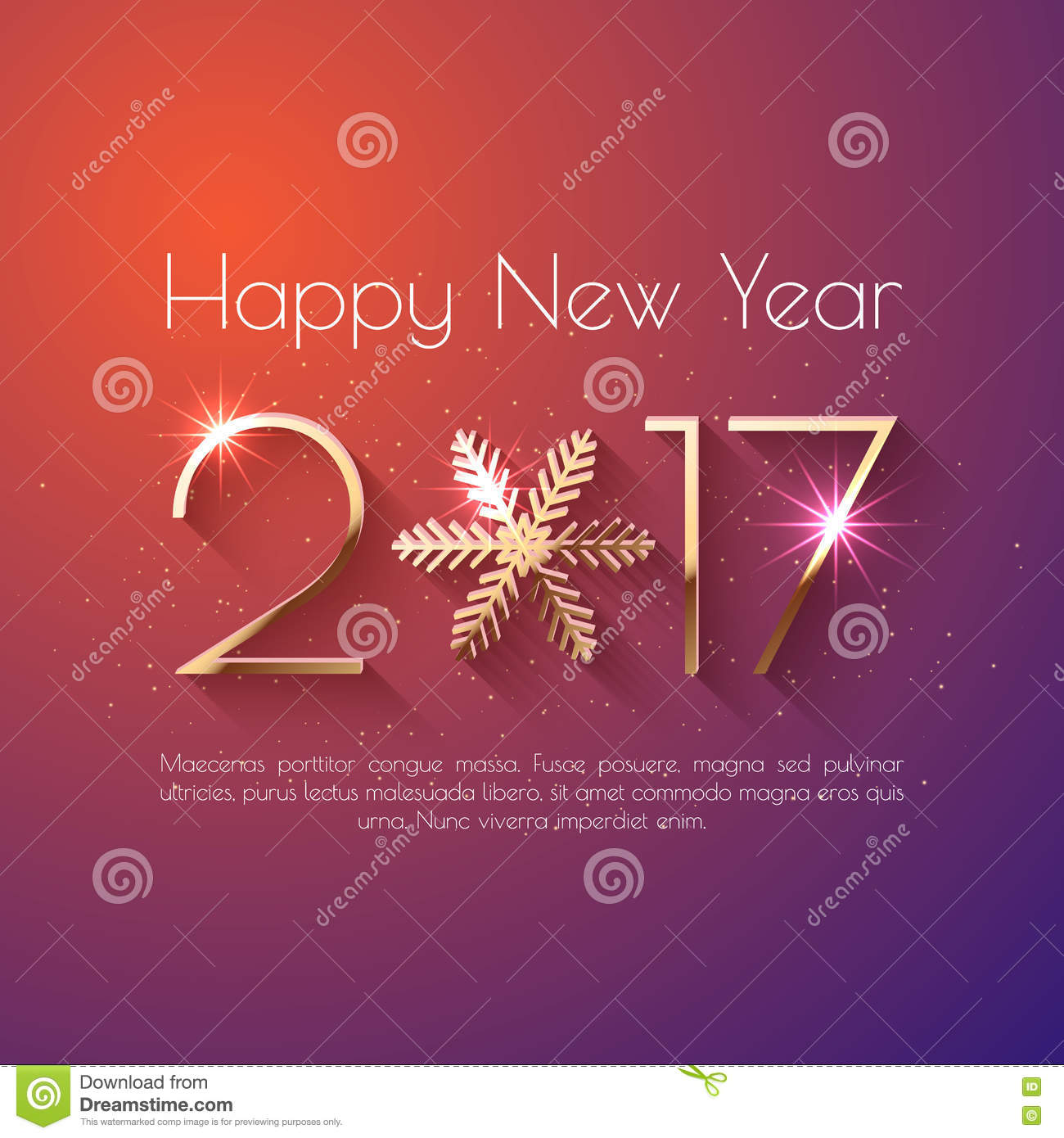 Happy New Year 2017 Text Design Stock Vector Illustration Of