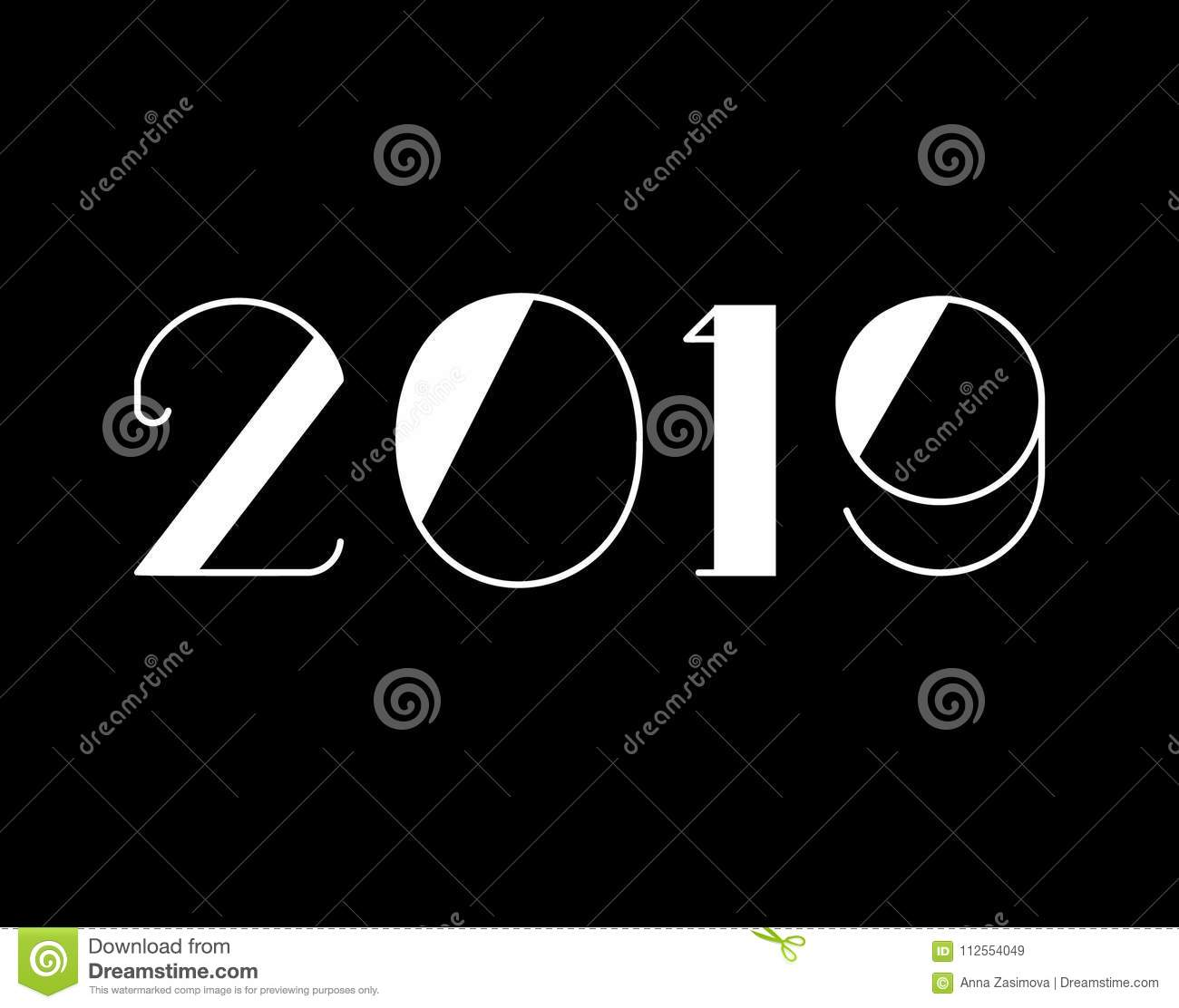 2019 happy new year text design vector illustration banner with 2019 numbers on black background