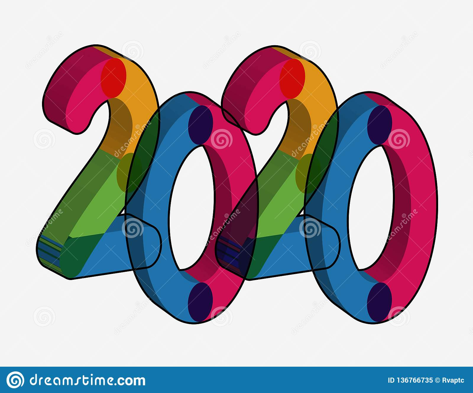 Happy New Year 2020 Text Effect Png Stock Image