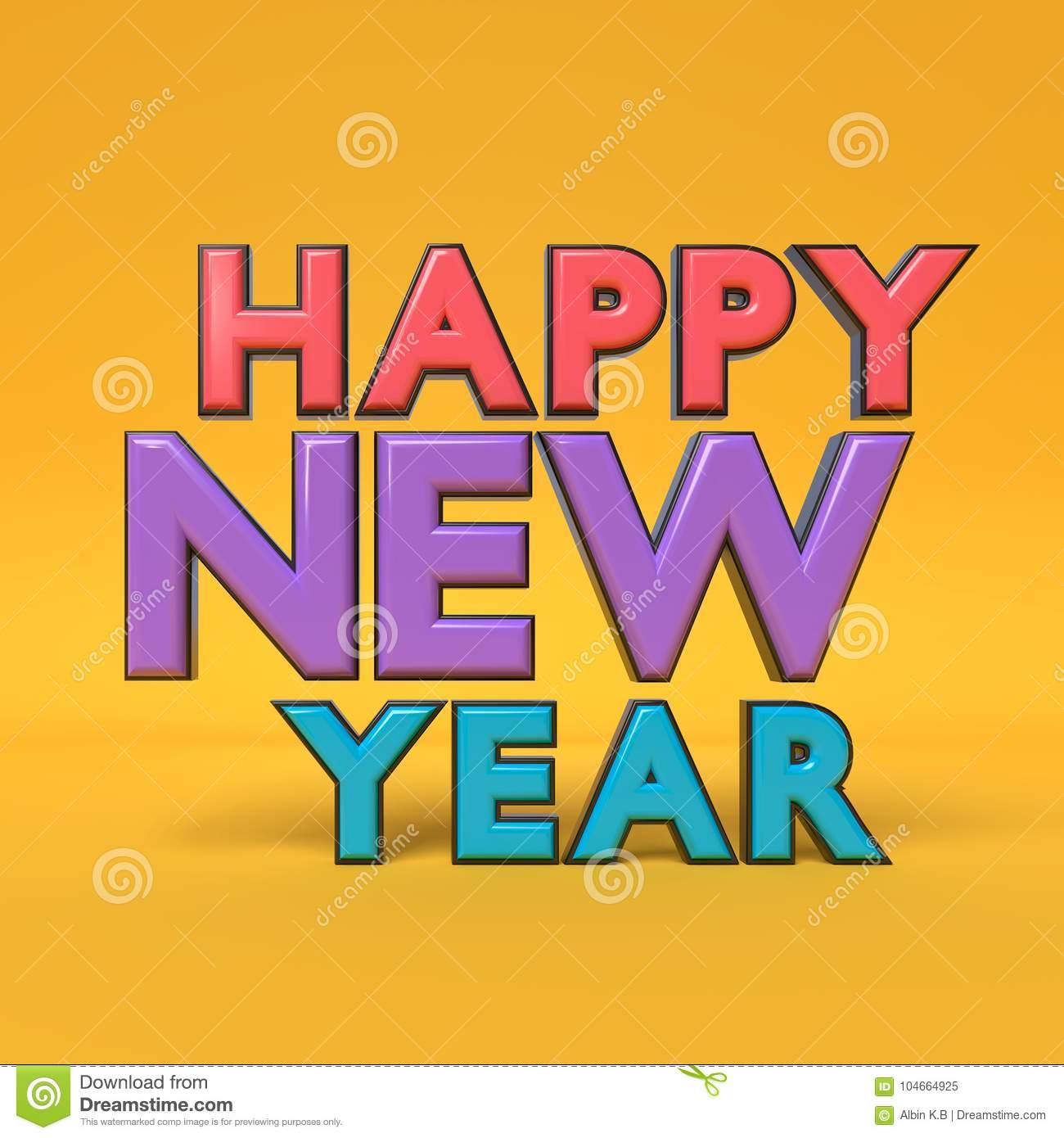 Happy New Year Text Greetings 3d Rendering Stock Illustration