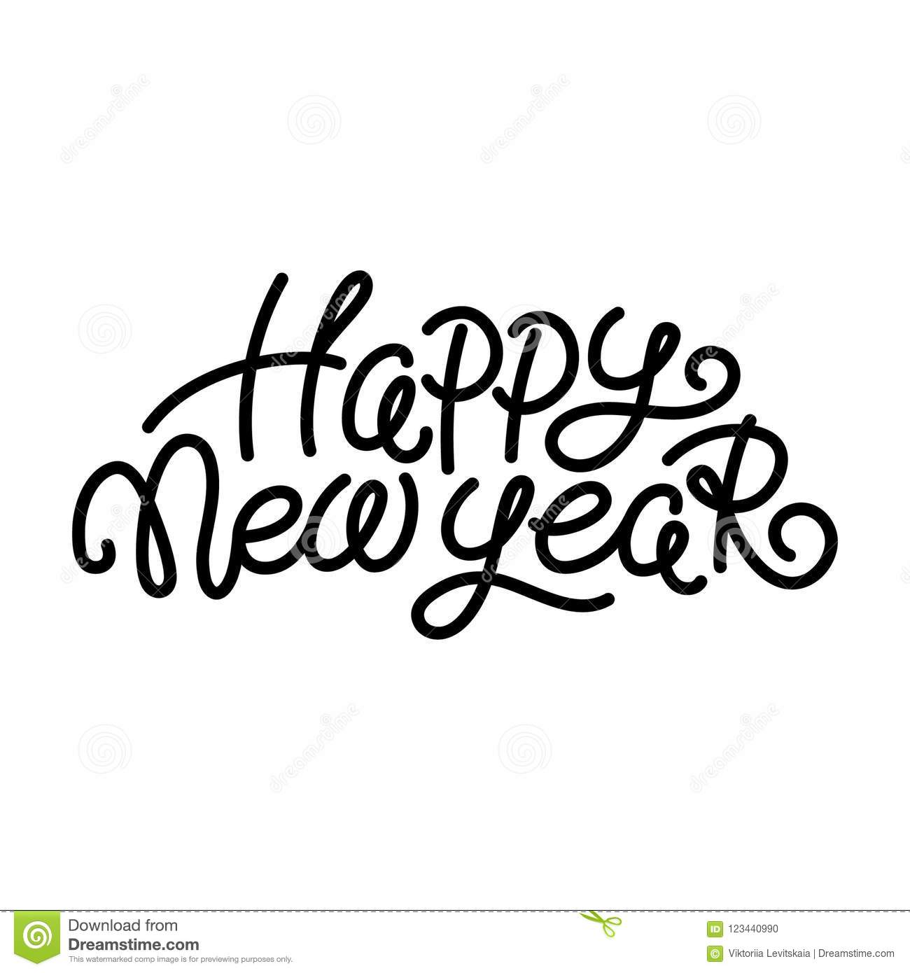 Happy New Year Greeting Text, Black On White Stock Vector ...