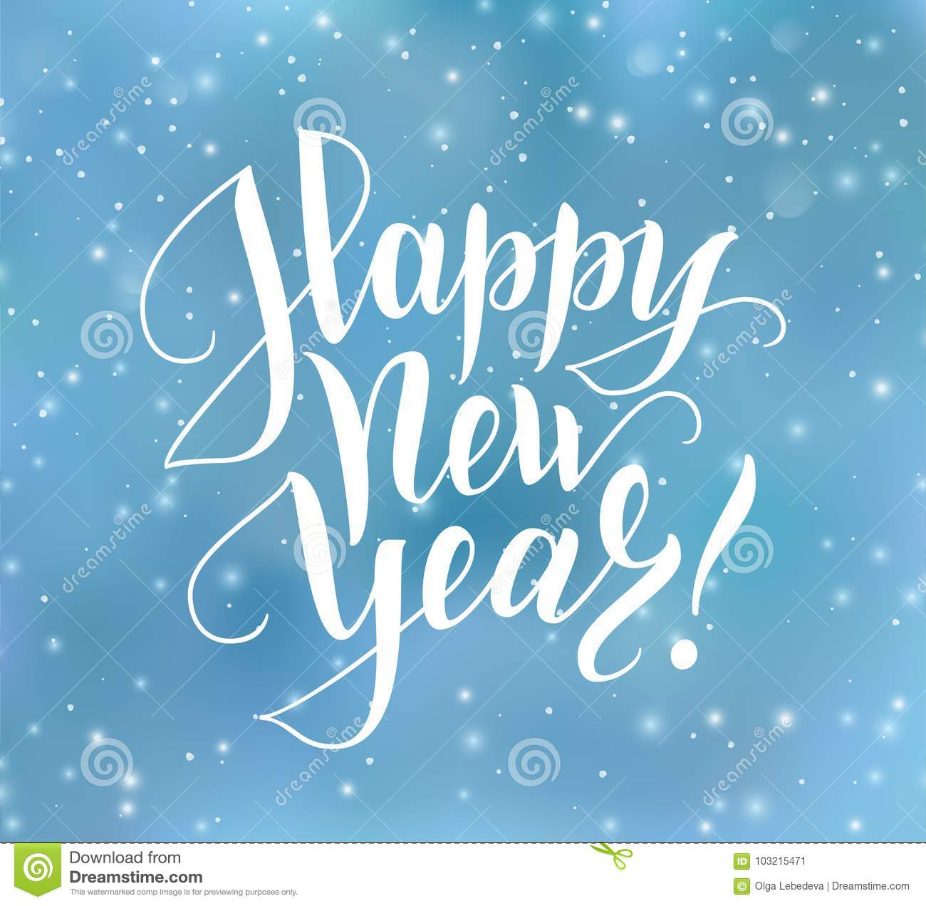 Happy New Year Text Holiday Greetings Quote Blue Blurred