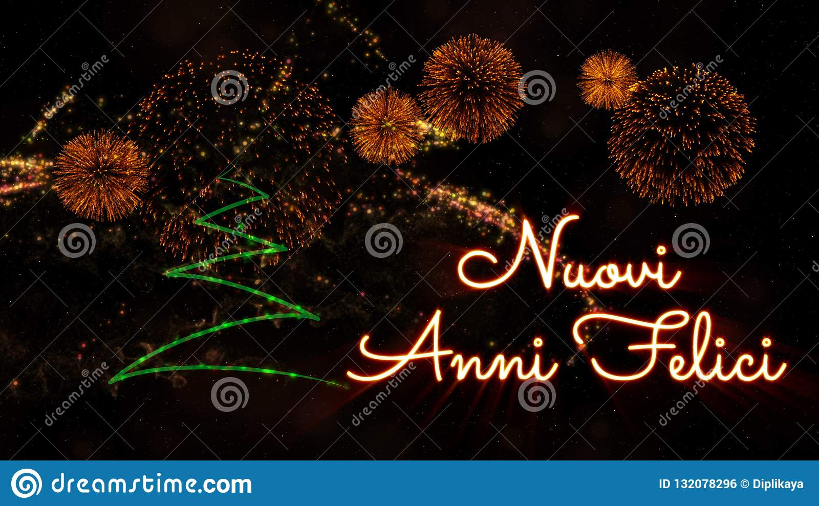 Happy New Year text in Italian  Nuovi Anni Felici  over pine tree and fireworks