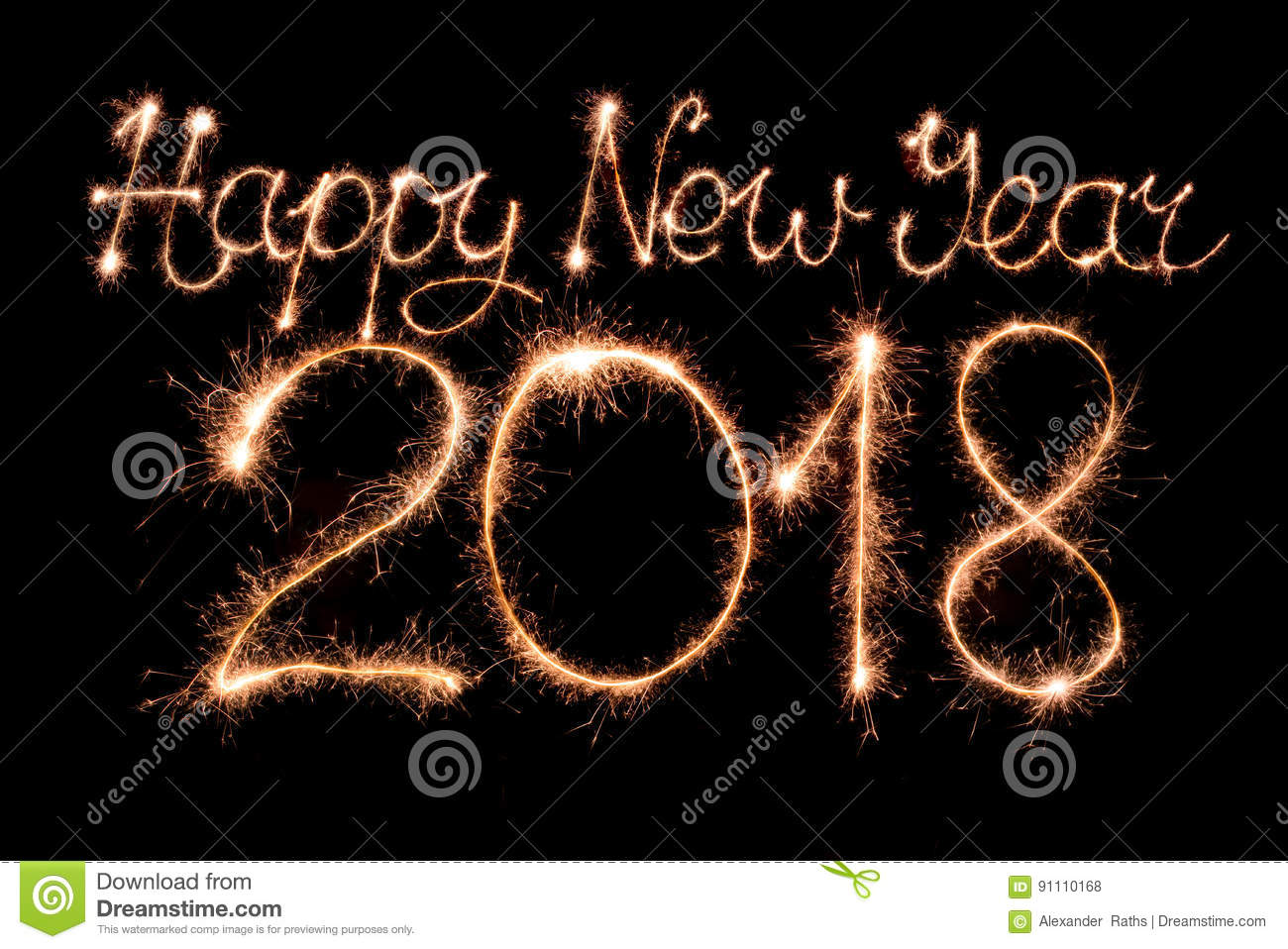 Happy New Year 2018. Text Made From Sparklers Firework Light Royalty Free  Stock Photos