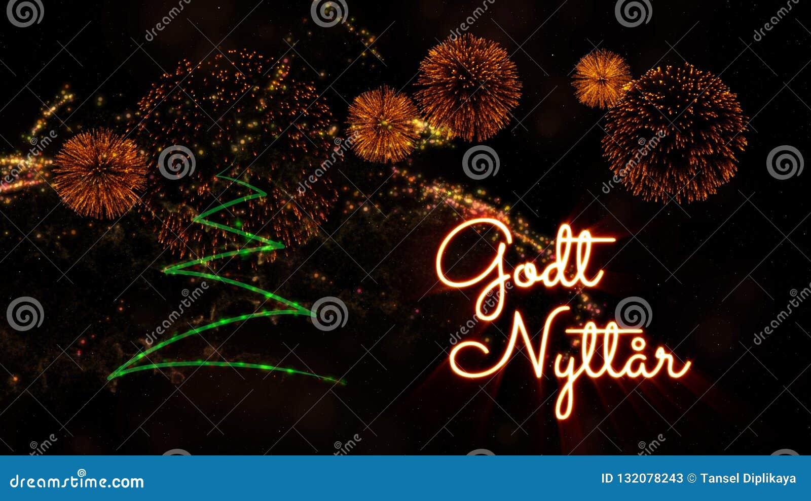 Happy New Year Text In Norwegian 'Godt Nyttar' Over Pine ...