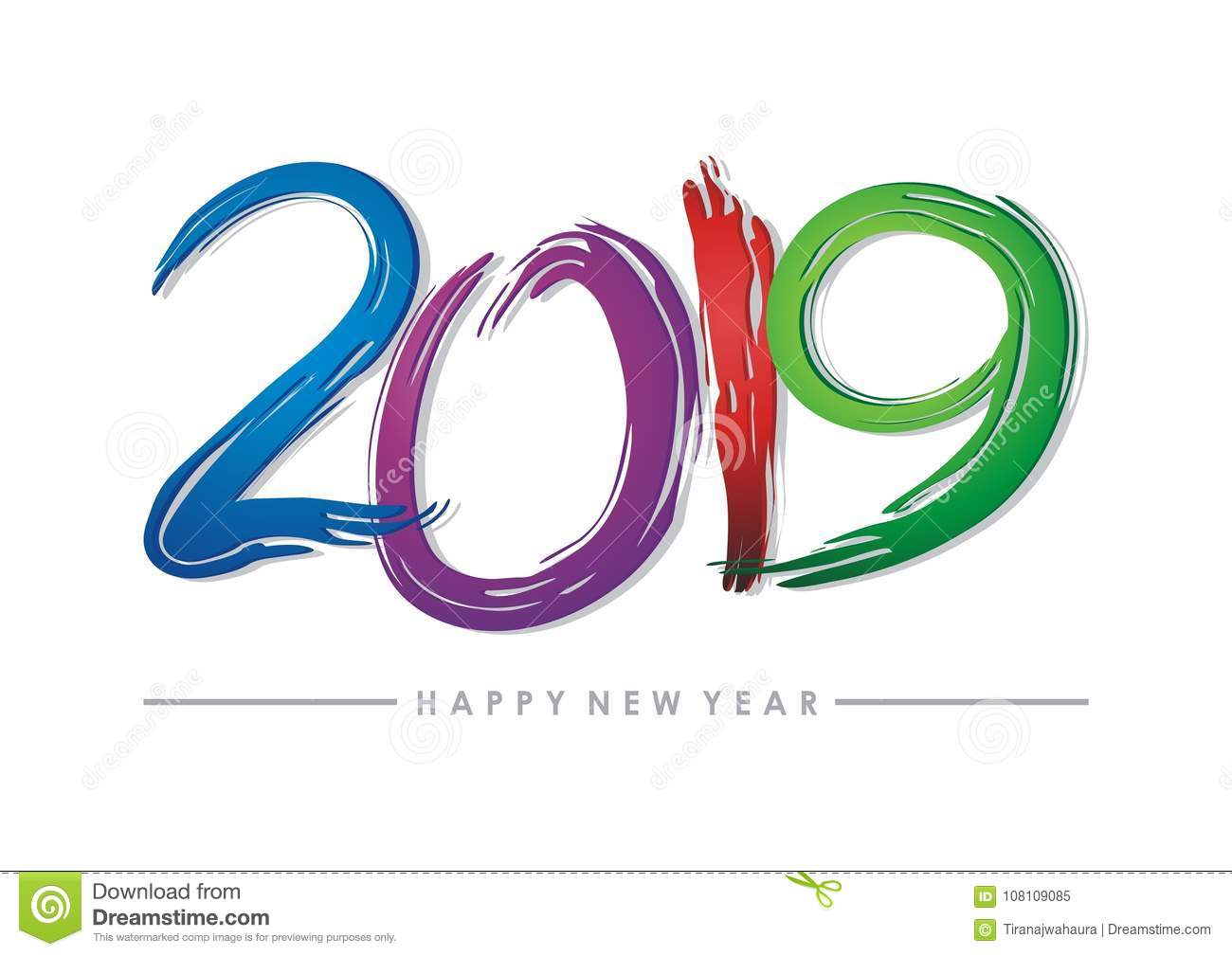 2019 happy new year text - number design