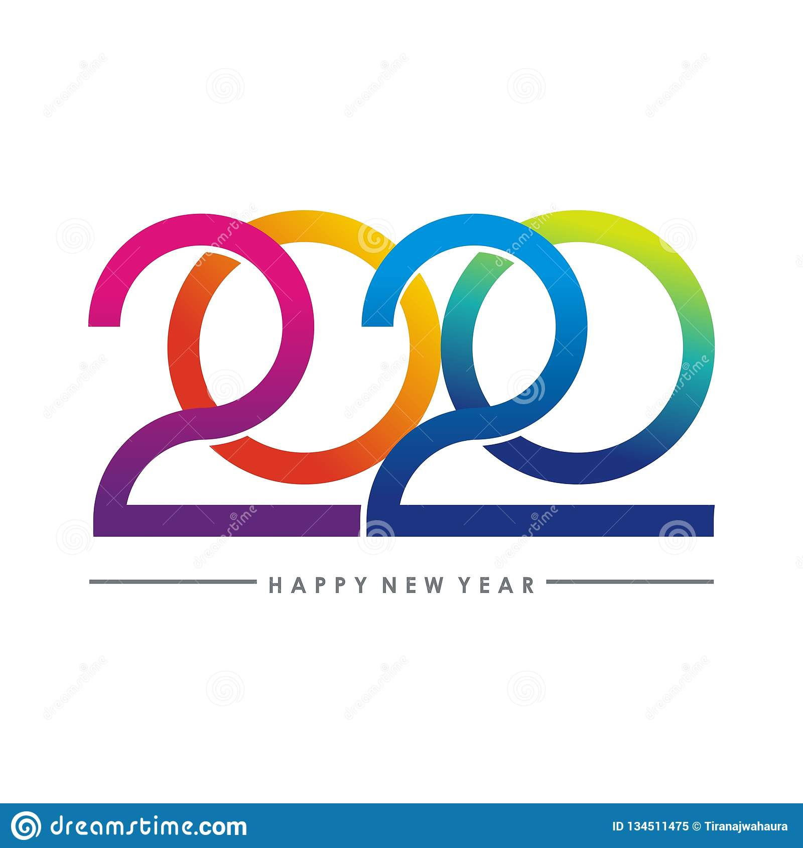 Happy new year 2020 text - number design