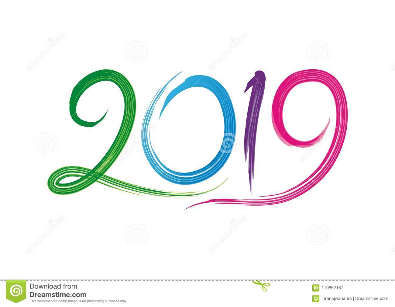 2019 happy new year text number design