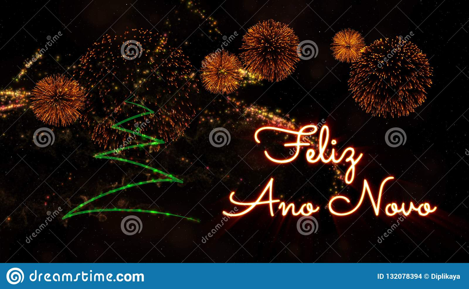 Happy New Year text in Portuguese  Feliz Ano Novo  over pine tree and fireworks