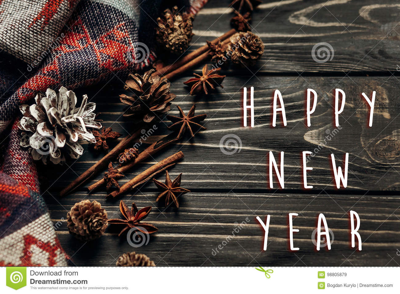 happy new year text sign greeting with stylish rustic winter or