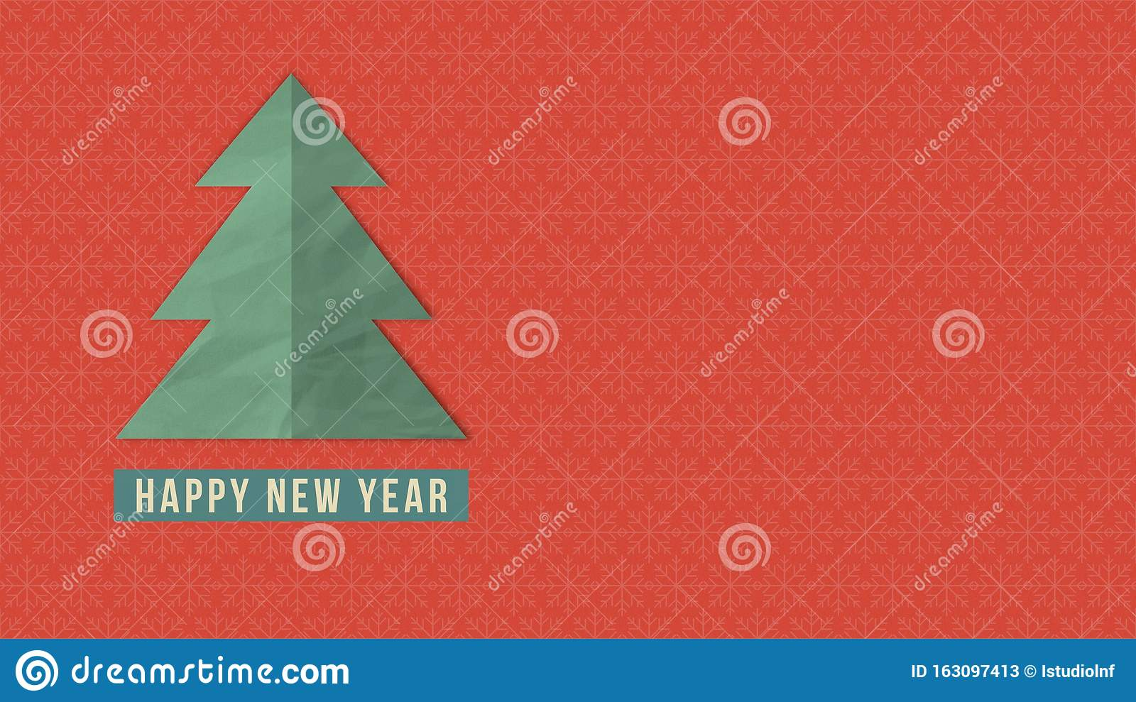 Happy New Year Text White Christmas Tree On Red Background Stock Illustration Illustration Of Merry Focus 163097413