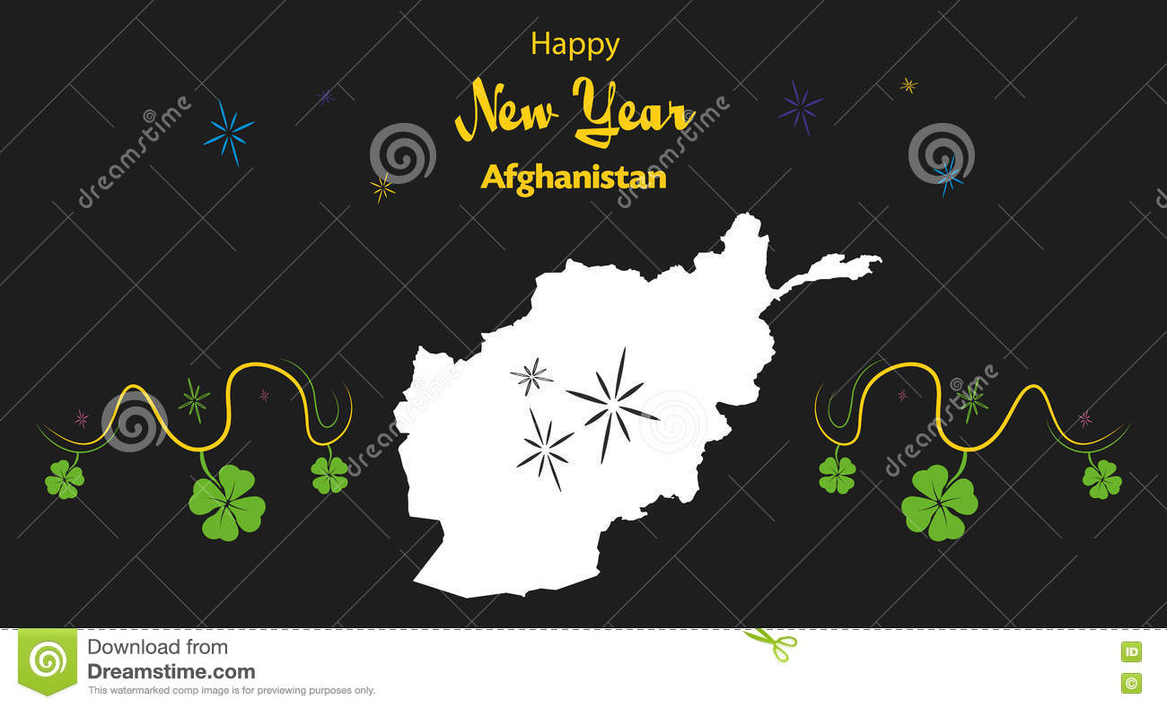 happy new year theme with map of afghanistan