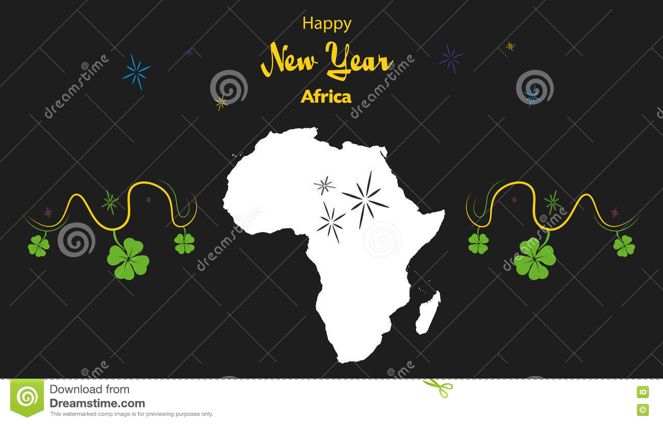 happy new year theme with map of africa