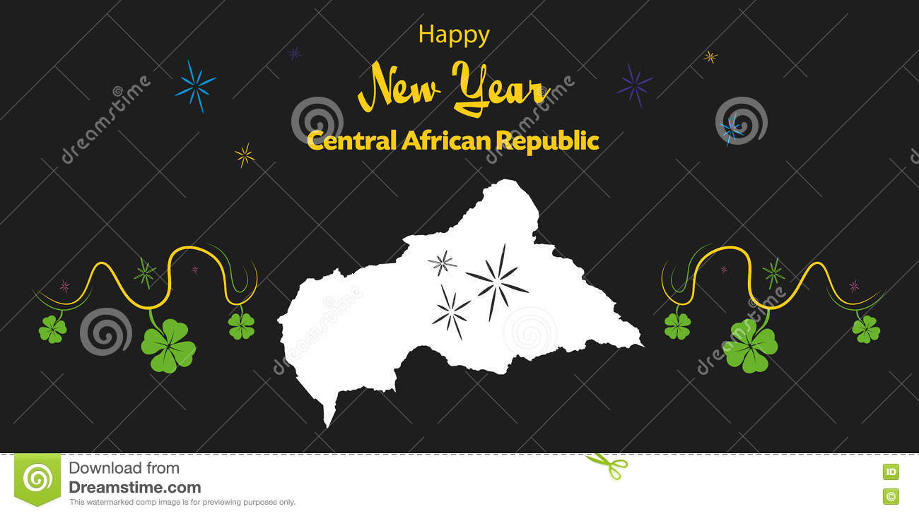 happy new year theme with map of central african re
