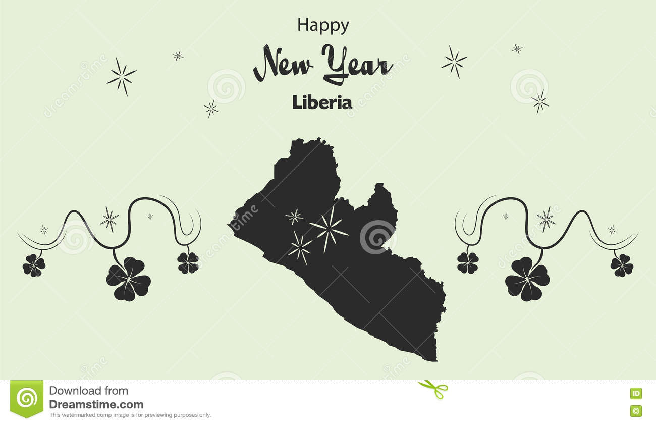 happy new year theme with map of liberia