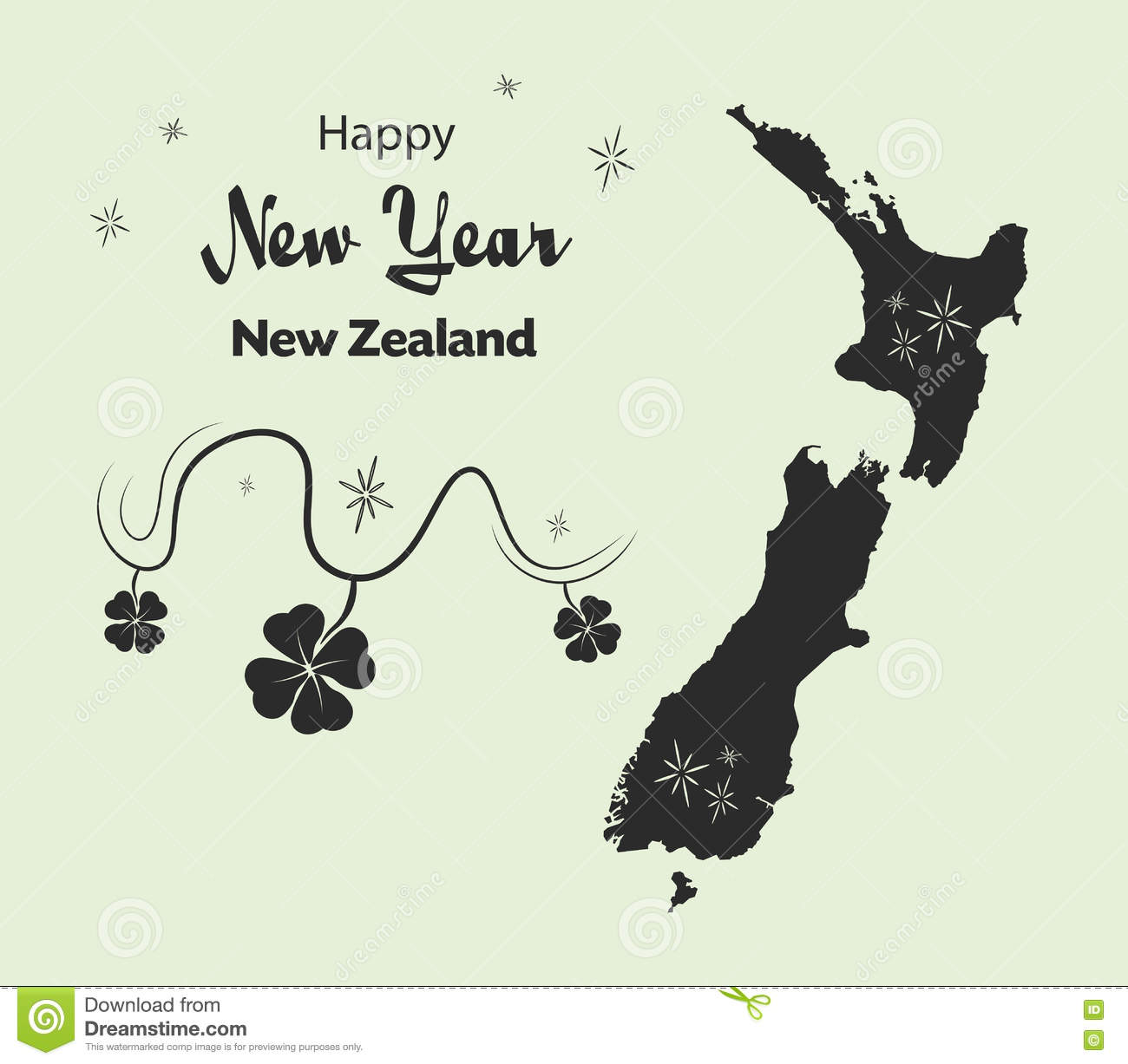 Happy New Year Theme With Map Of New Zealand Stock ... on