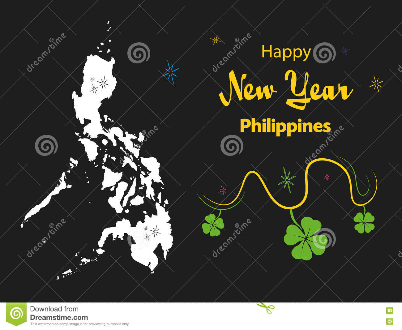 happy new year theme with map of philippines